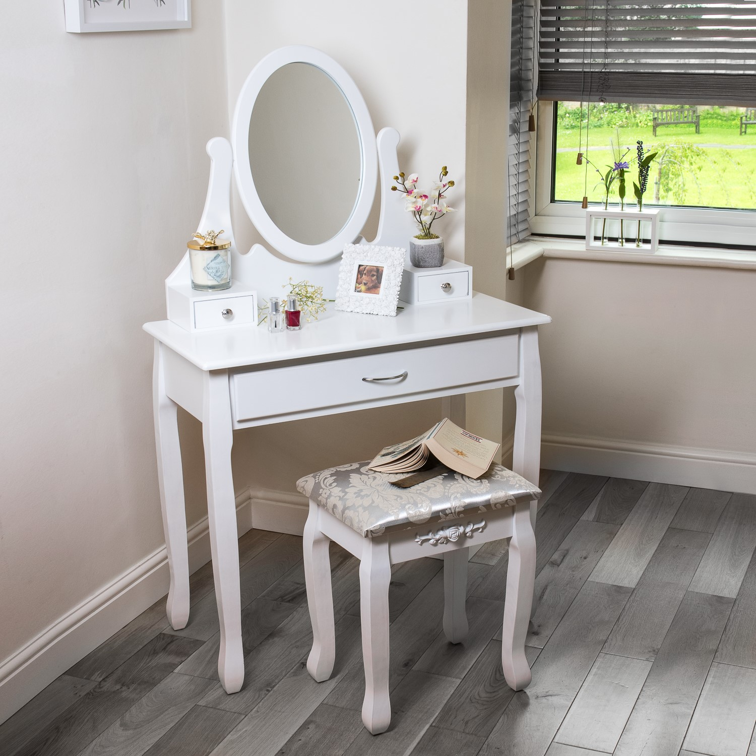 Vanity Desk With Oval Mirror And Stool  Home Treats UK