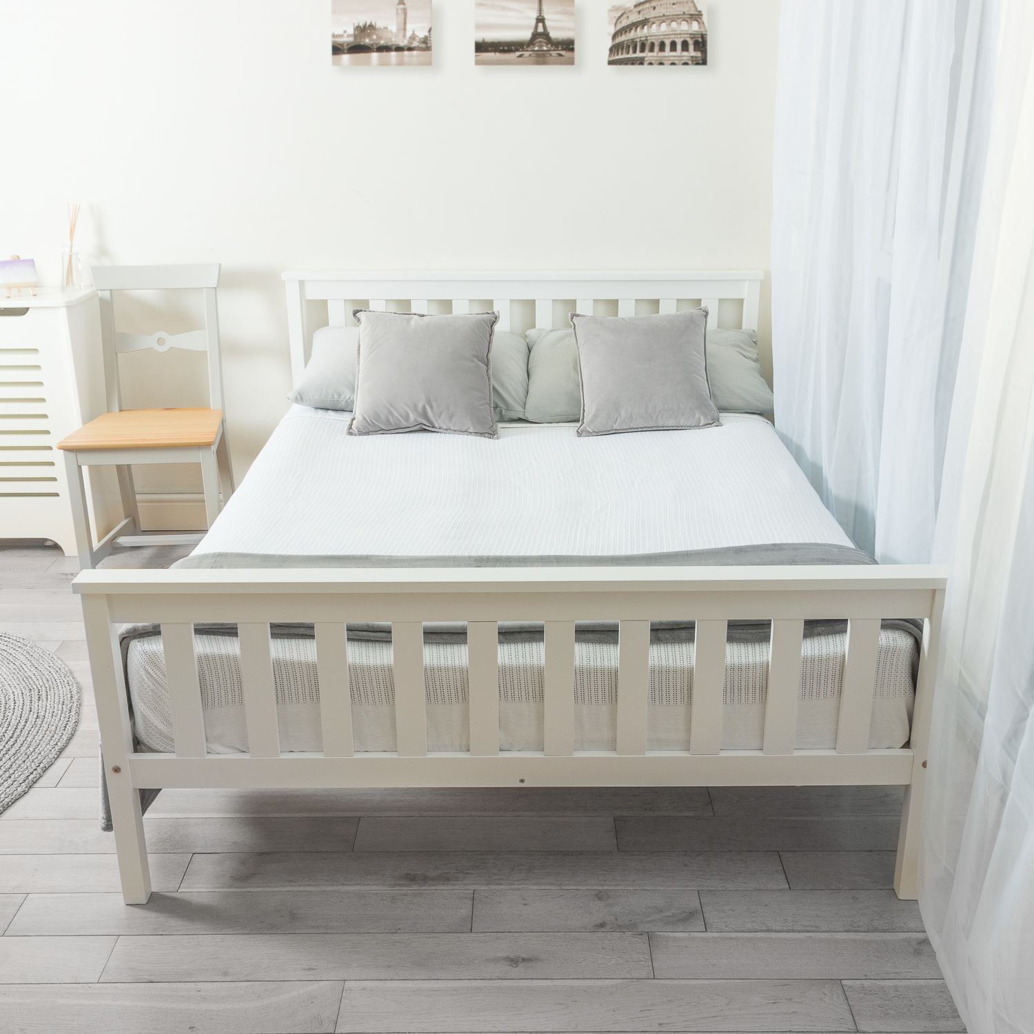 Solid Wooden Double Bed Frame In White  Home Treats UK