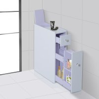 Bathroom Floor Cabinet In White With Slide Out Storage