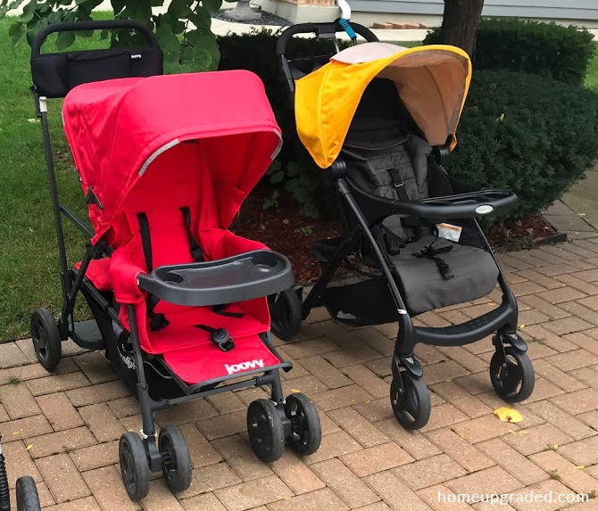 Side by side photo showing the Joovy Caboose Ultralight Graphite double stroller next to the Graco Verb single stroller. This image demonstrates that the two strollers are very similar in length and width.