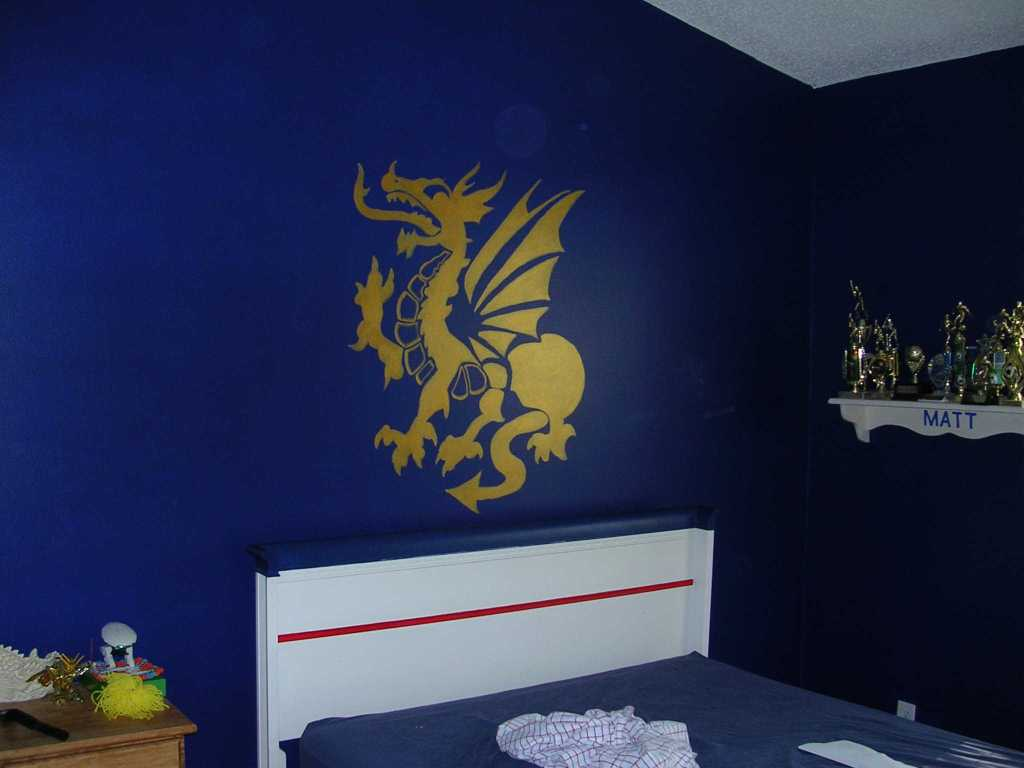 dark blue bedroom with a dragon