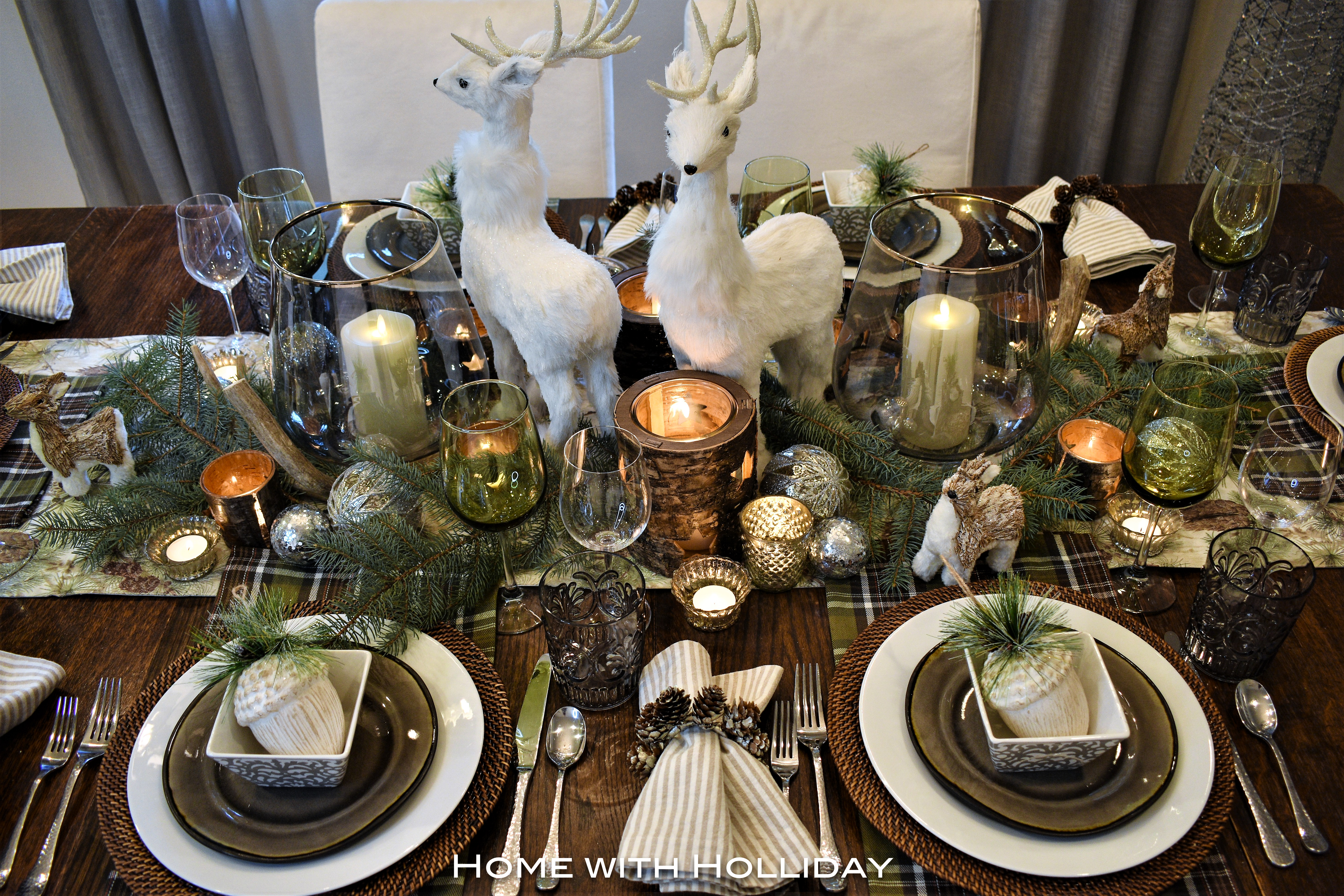 Rustic winter christmas centerpiece home with holliday