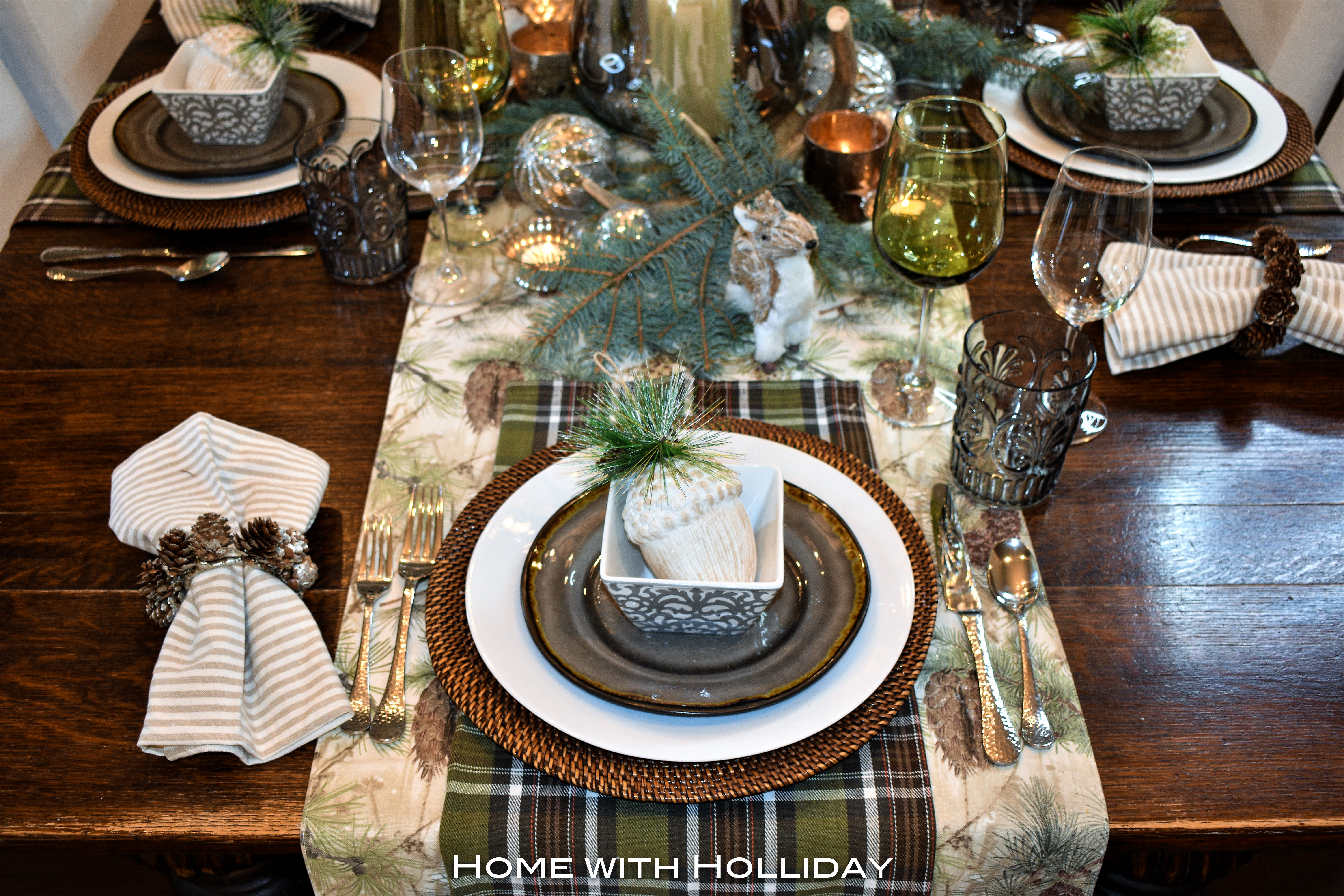 Place Setting for a Rustic Winter Christmas Table Setting
