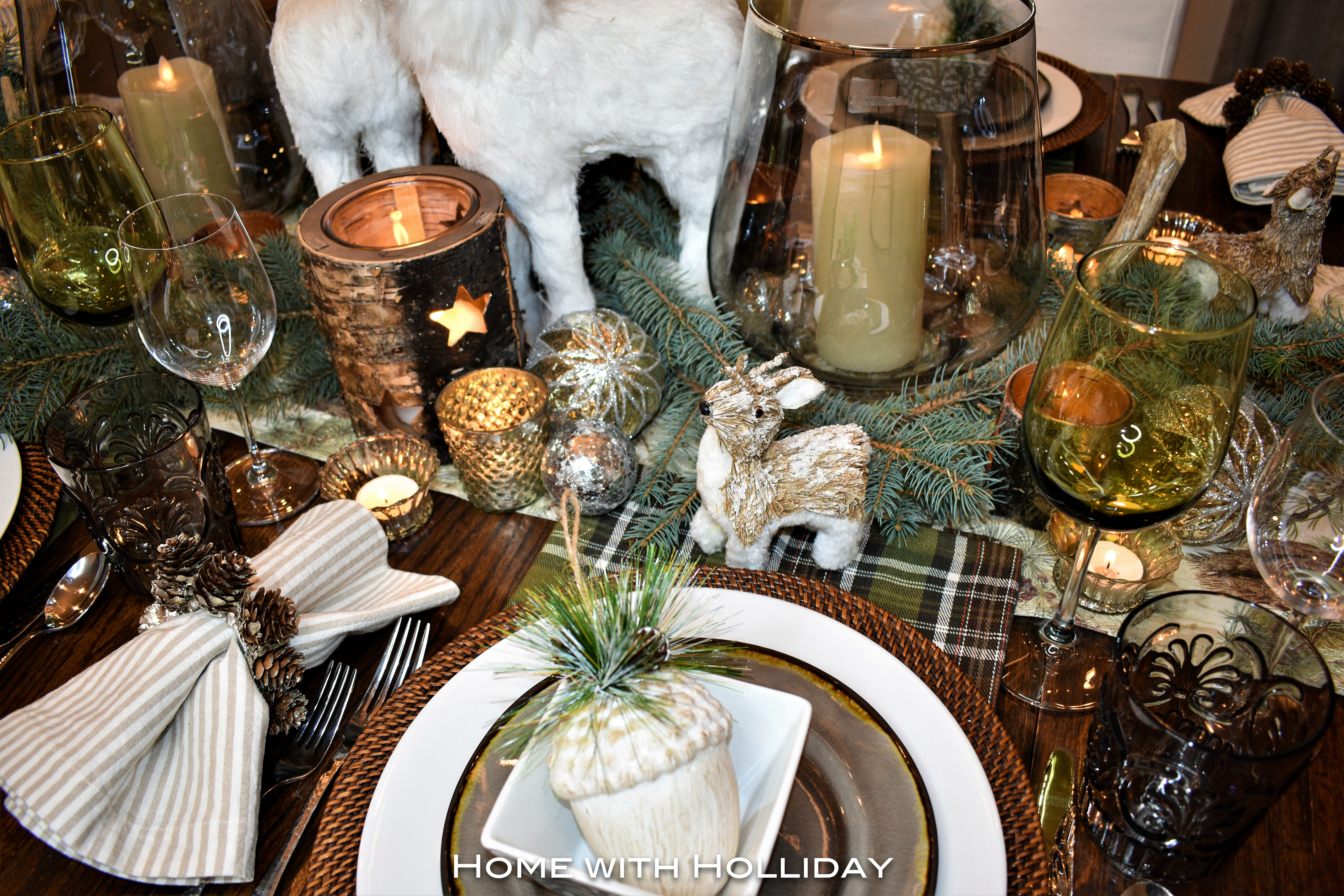 Rustic Winter Christmas Table Setting Details - Home with Holliday