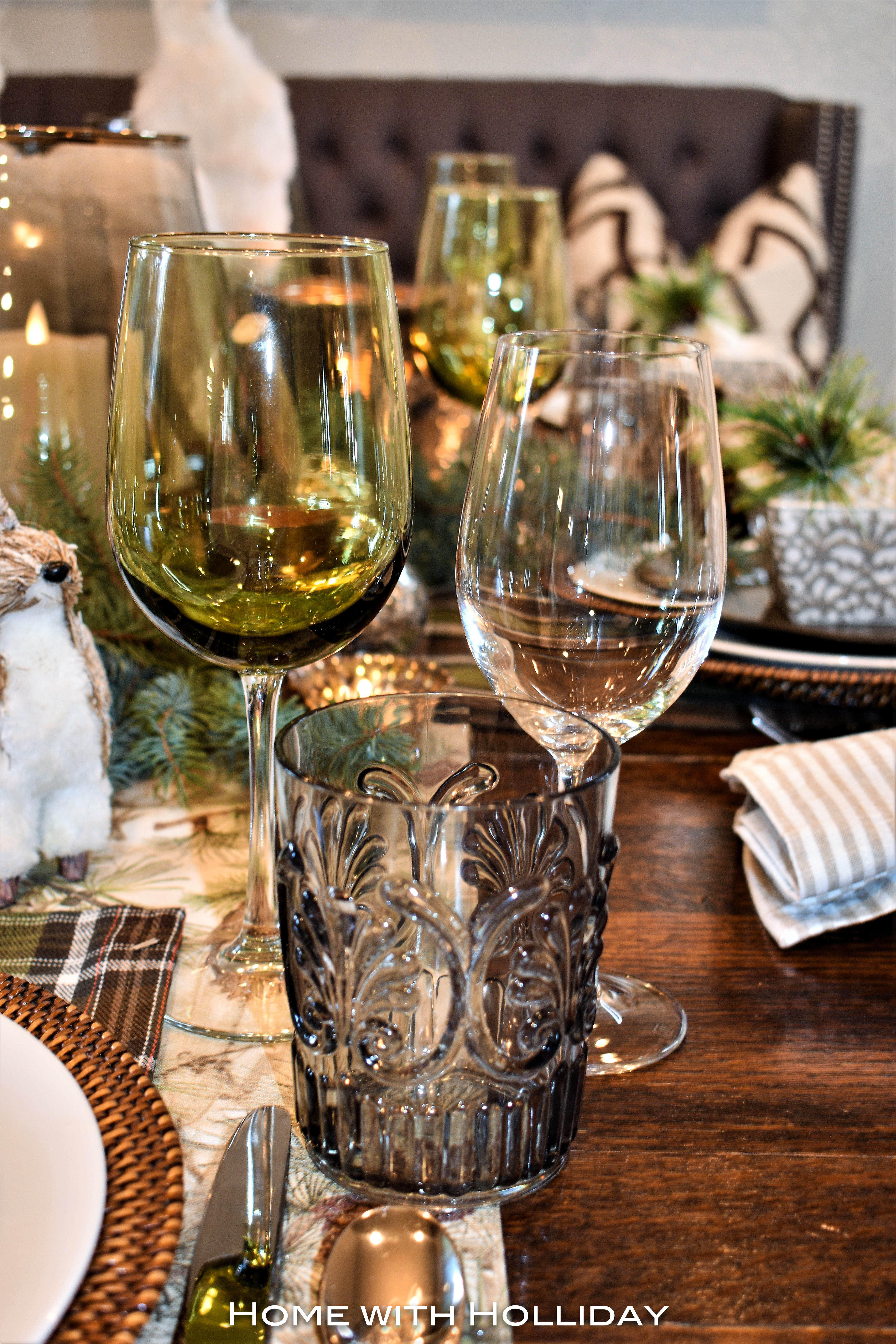 Glassware for a Rustic Winter Christmas Table Setting