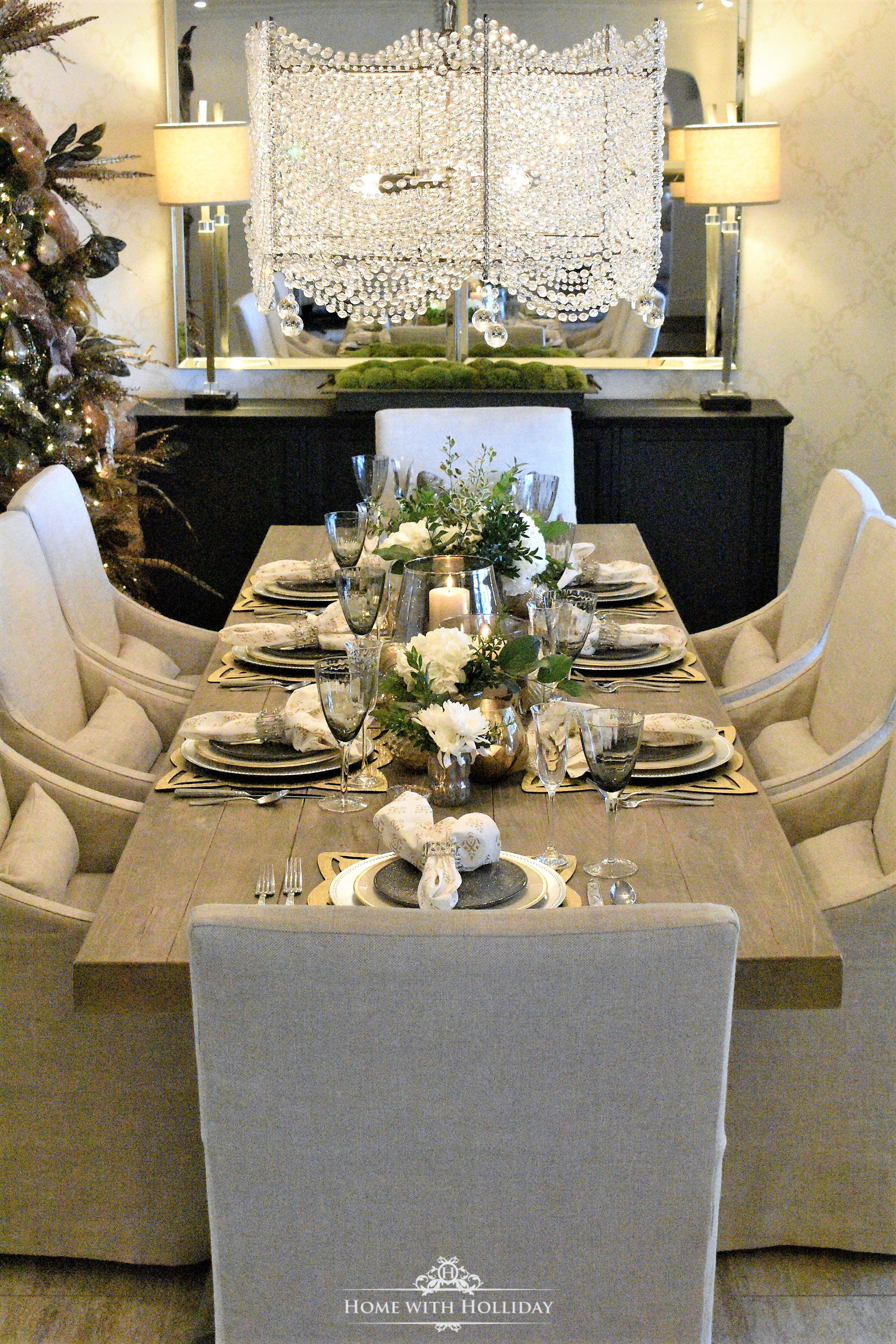 Gold and Silver Table Setting for New Year's Eve or Christmas - Home with Holliday