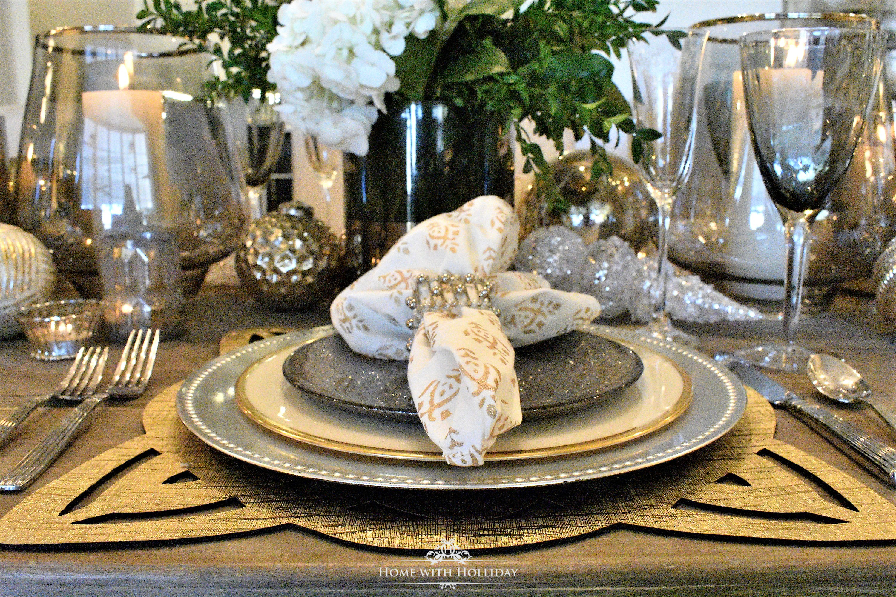 Gold and Silver Place Setting for Christmas or New Year's Eve