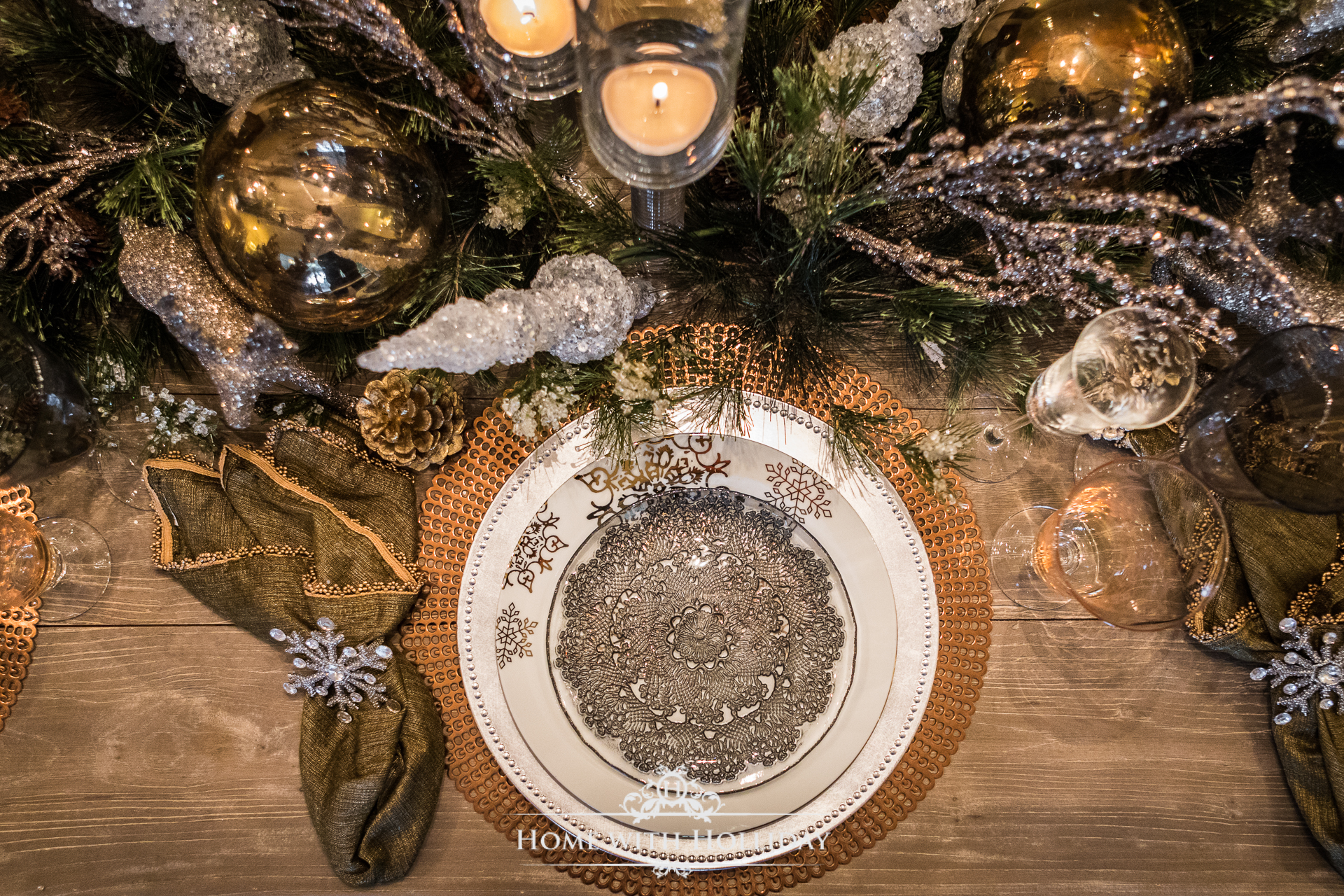 Winter Glam Dining Room for Christmas - Home with Holliday