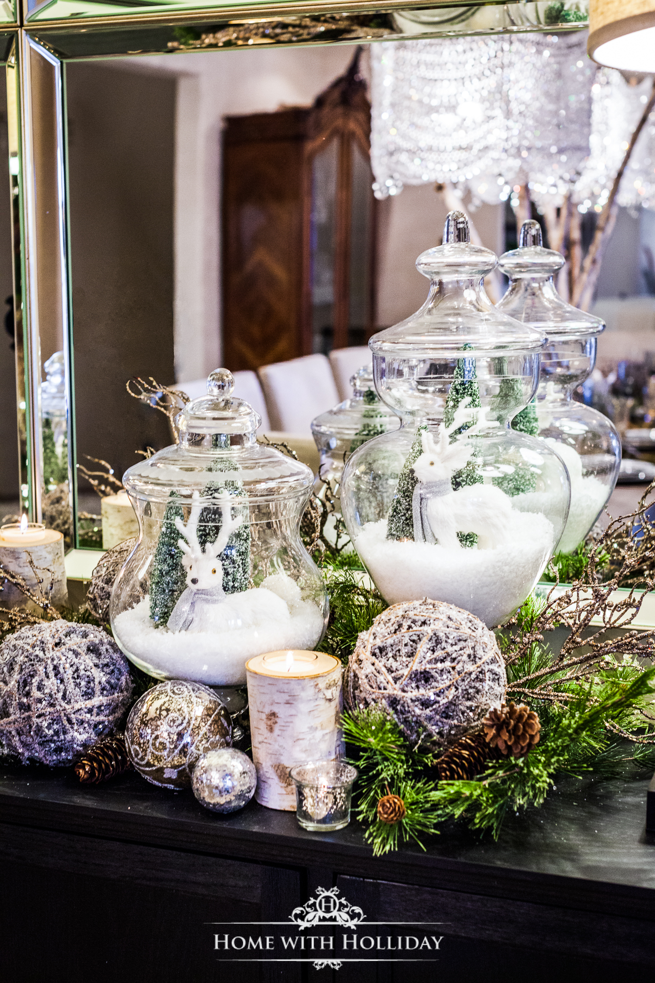 Winter White Christmas Centerpiece with Apothecary Jars - Home with Holliday