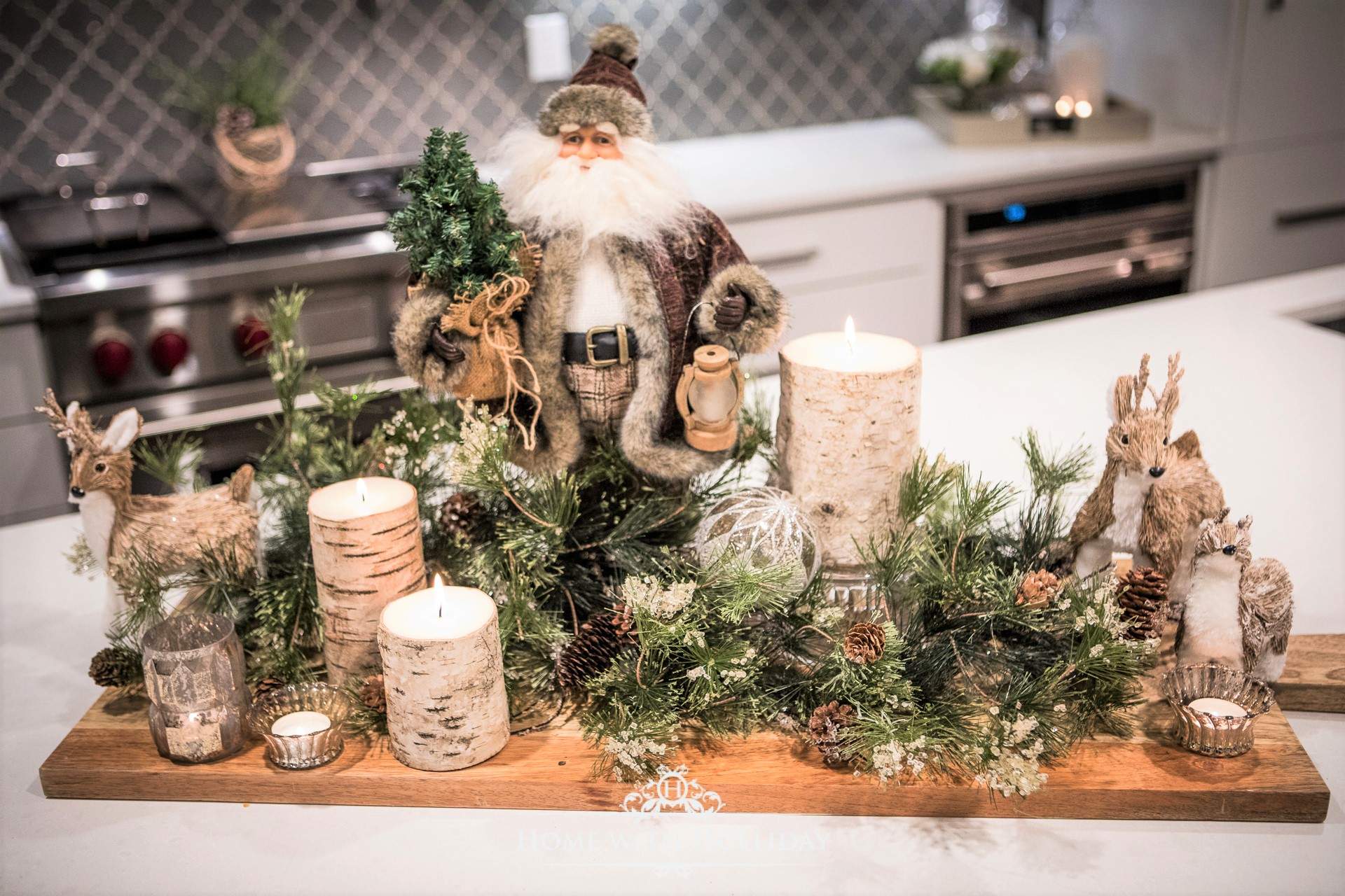 Rustic Winter Table Centerpiece