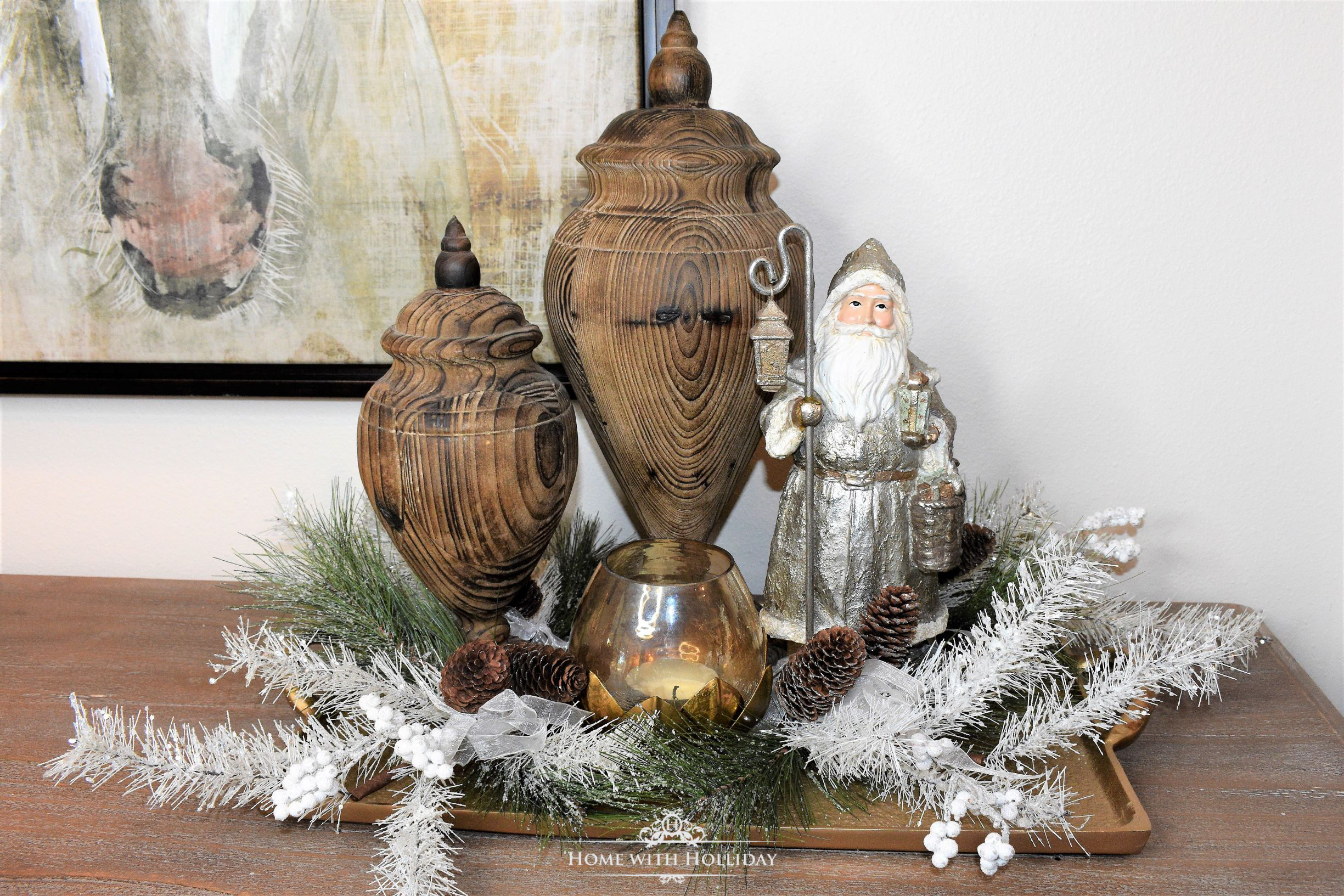 Christmas Decorating Ideas - Utilize Trays for Vignettes - Home with Holliday