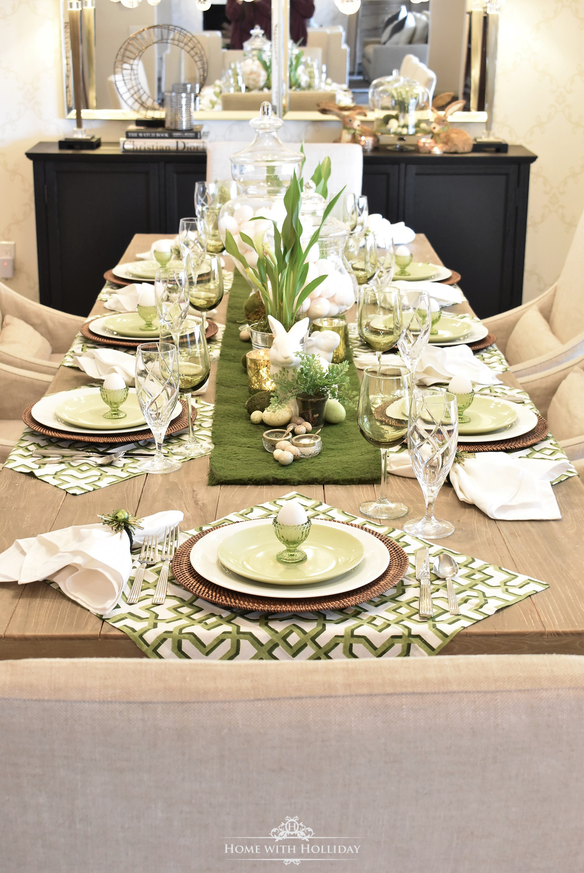 My Top Ten Posts of 2019 - Green and White Easter Table Setting - Home with Holliday