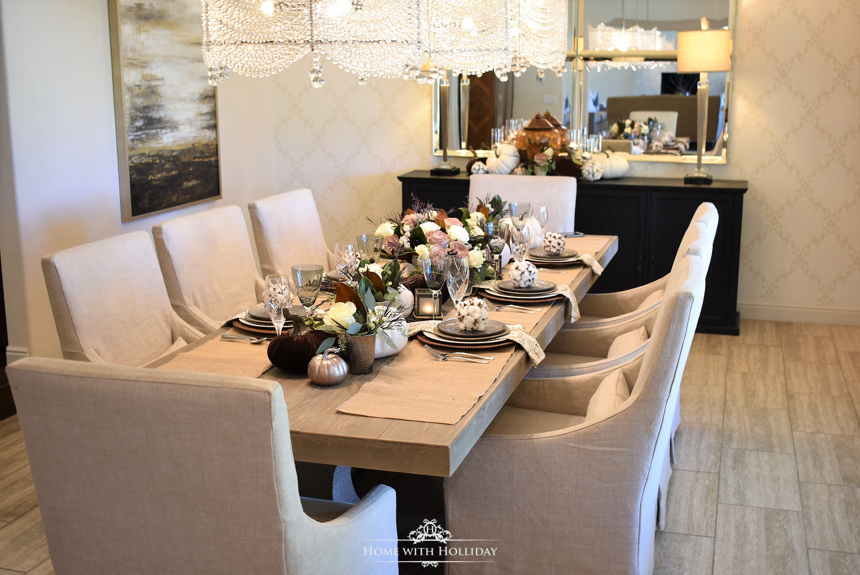 Fall Home Tour with Warm Neutral Tones - Dining Room Table - Home with Holliday