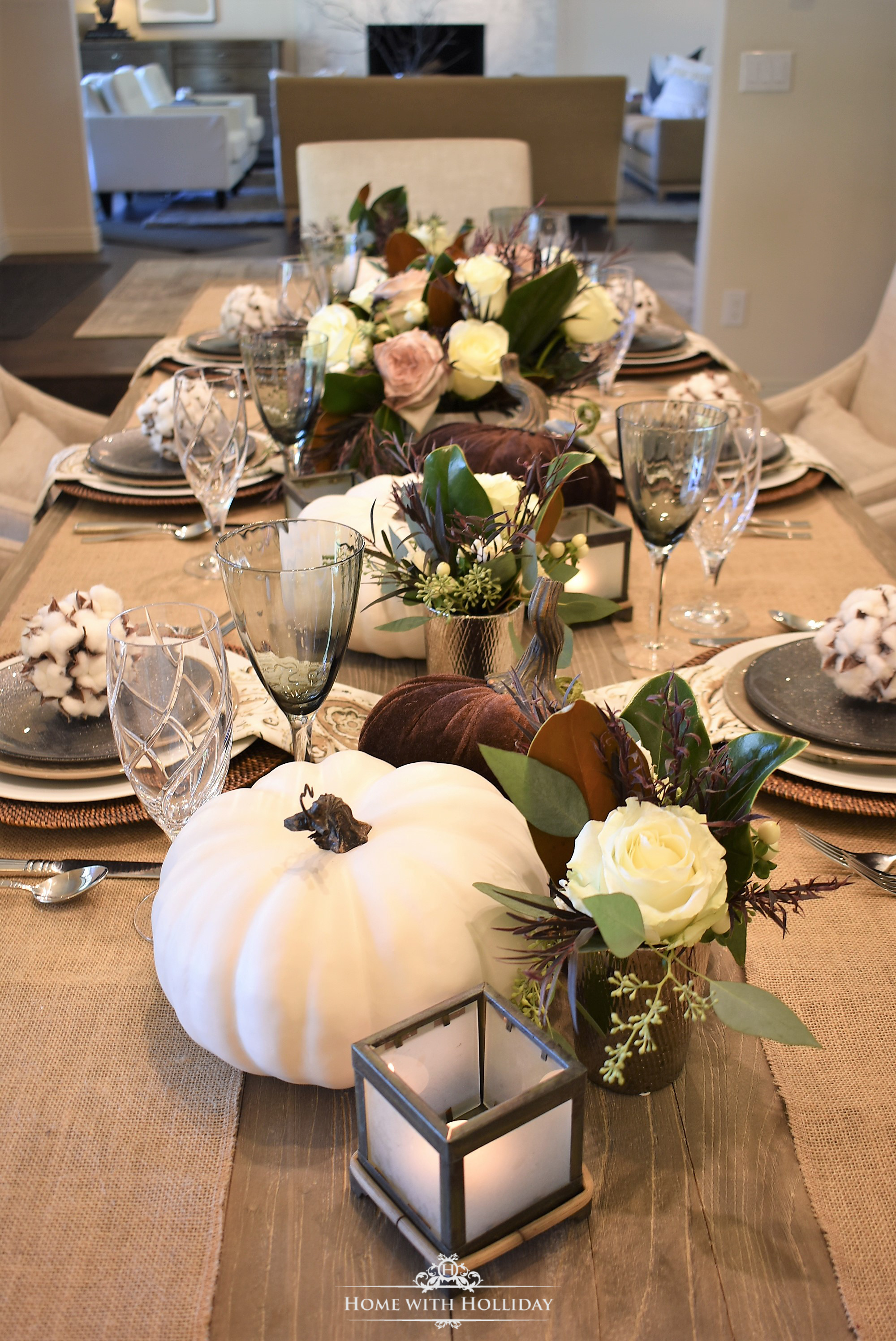 Fall Table Setting with Brown and White Pumpkins Centerpiece