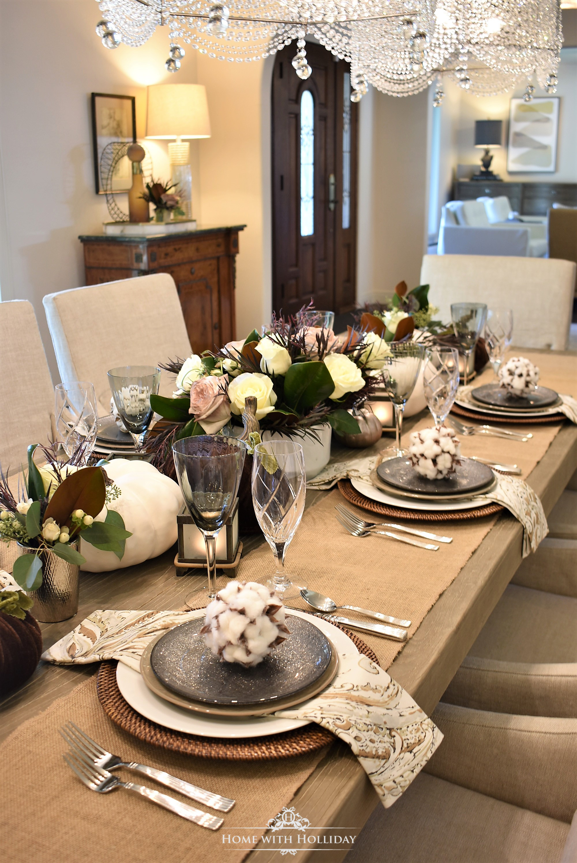 Centerpiece for a Fall Table Setting with Brown and White Pumpkins