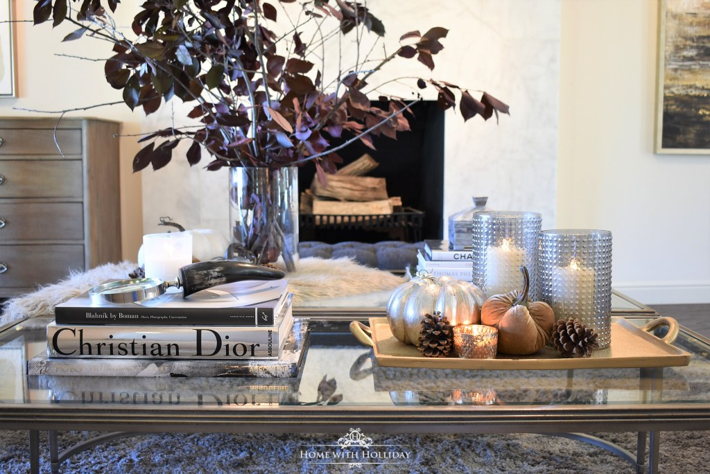 Simple Warm and Cozy Fall Coffee Table Styling