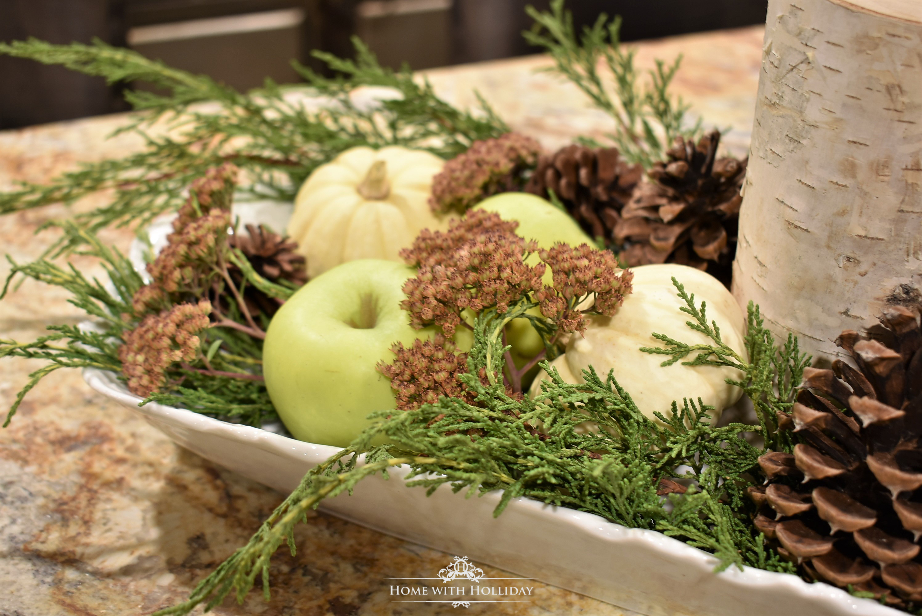 My Fall Centerpiece with Green Apples - Home with Holliday