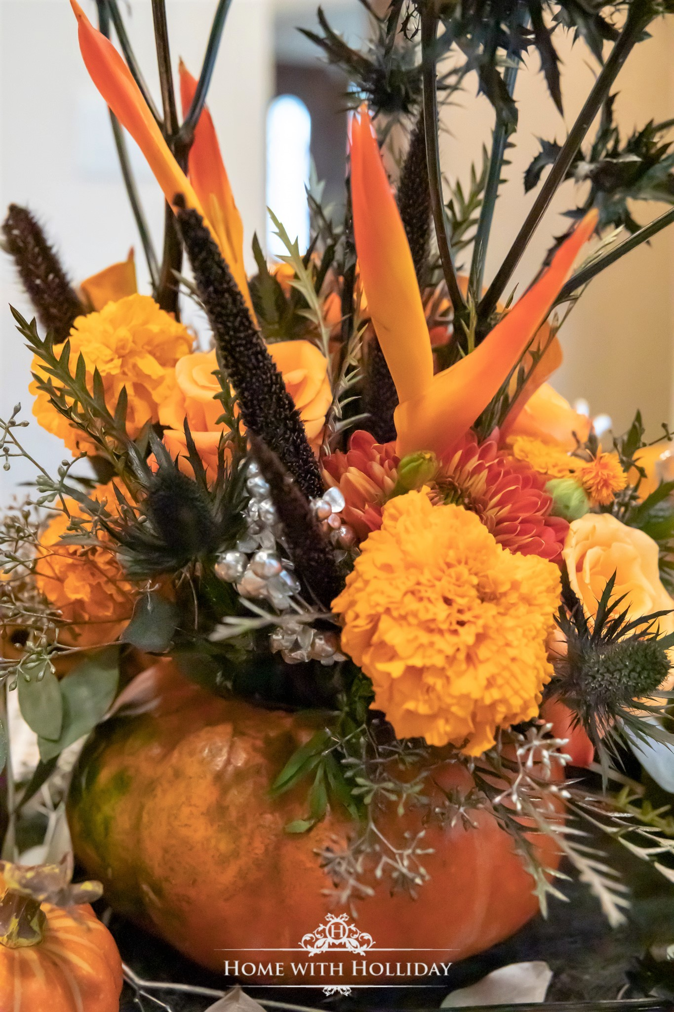 Elegant Halloween Table Setting with Pumpkins - Centerpiece - Home with Holliday