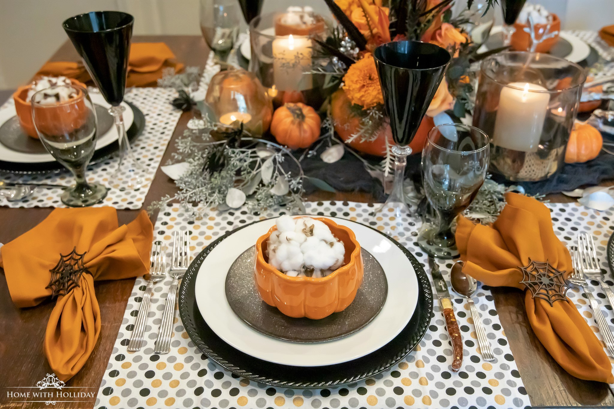 Place Setting for an Elegant Halloween Table Setting with Pumpkins - Home with Holliday