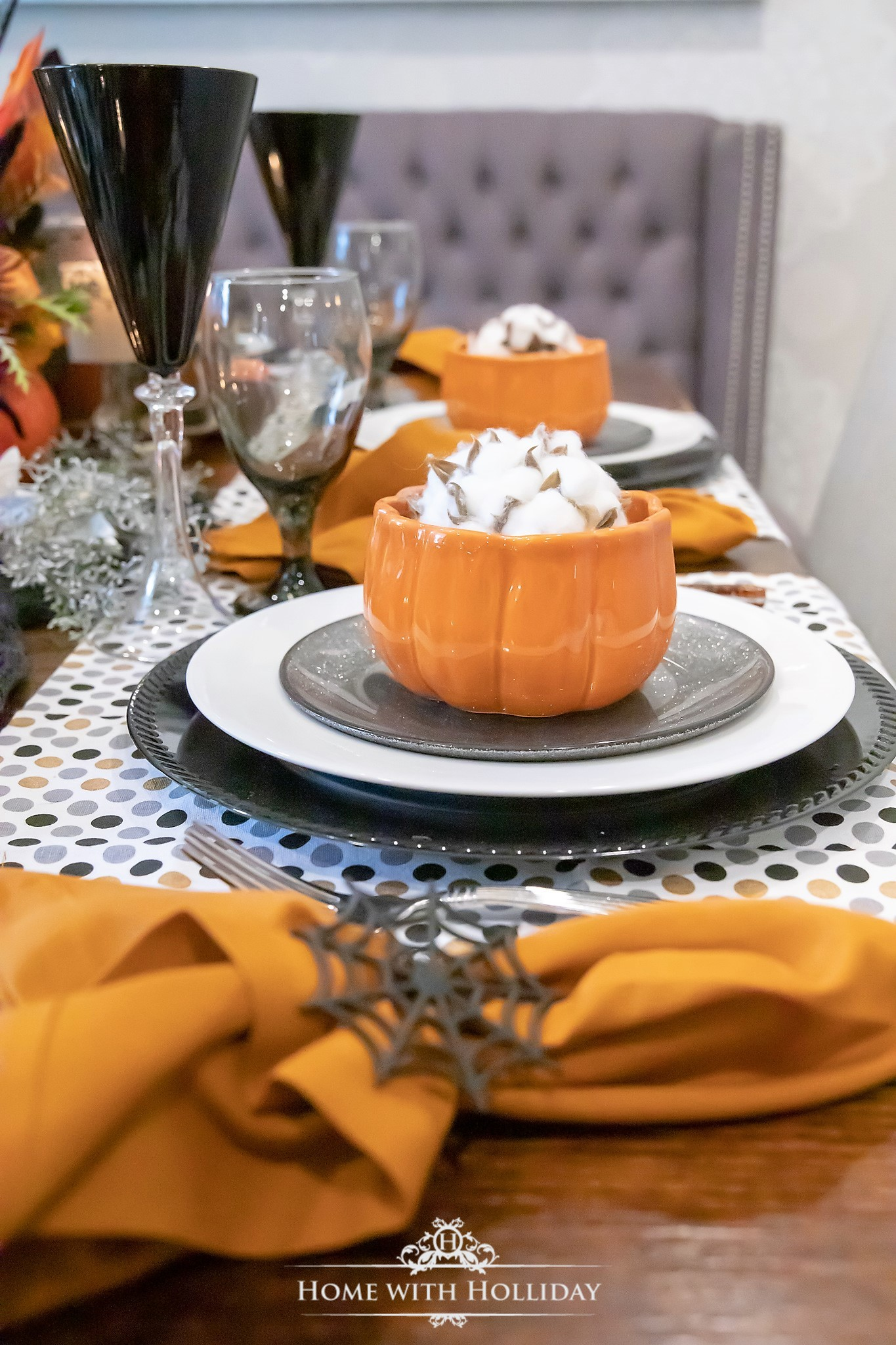 Orange and Black Elegant Halloween Table Setting with Pumpkins - Home with Holliday