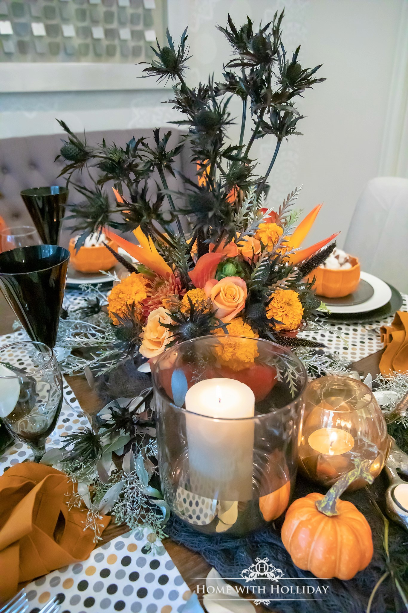 Centerpiece for an Elegant Halloween Table Setting with Pumpkins - Home with Holliday