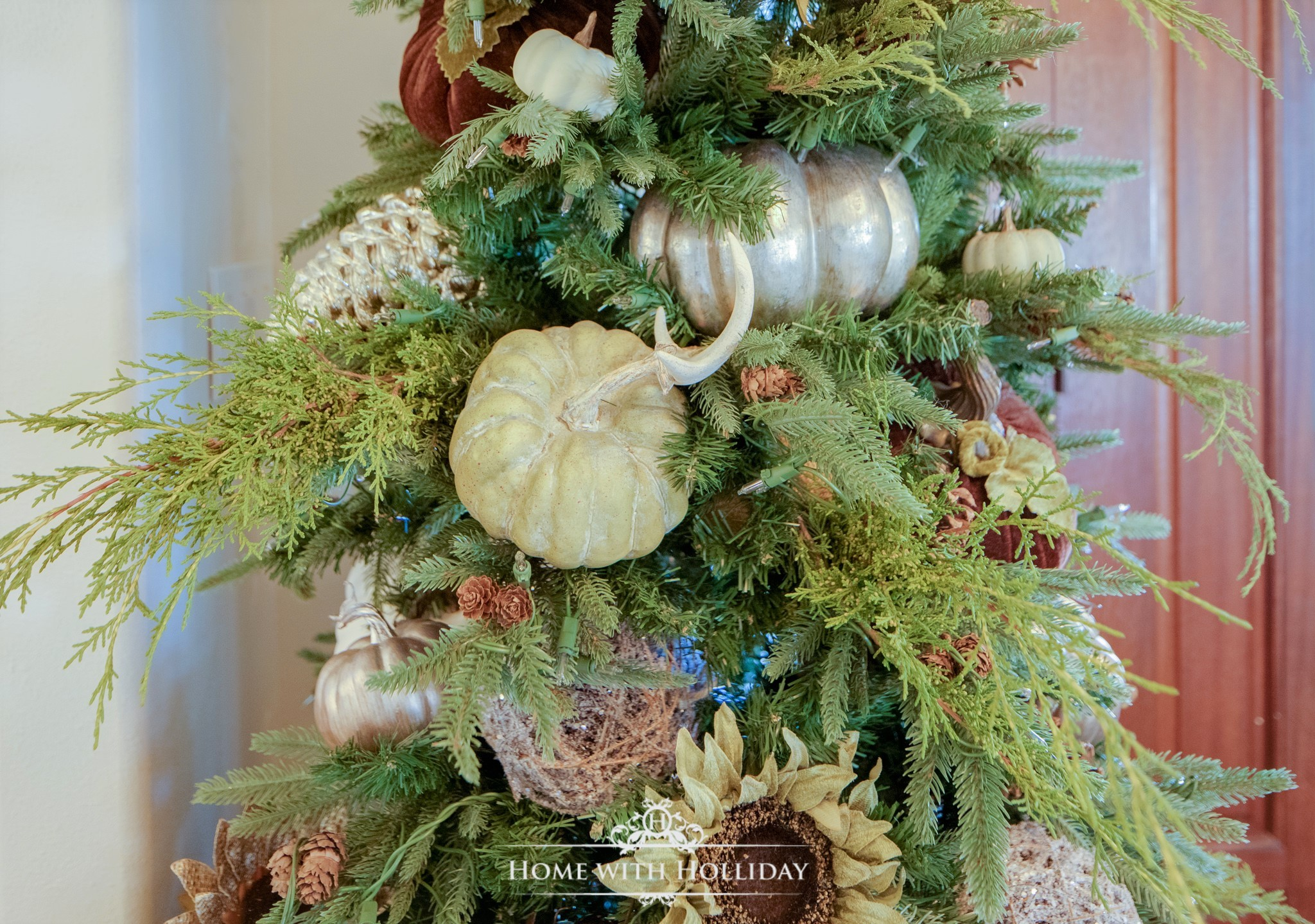 Simple Thanksgiving Tree with Pumpkins and Sunflowers- Home with Holliday