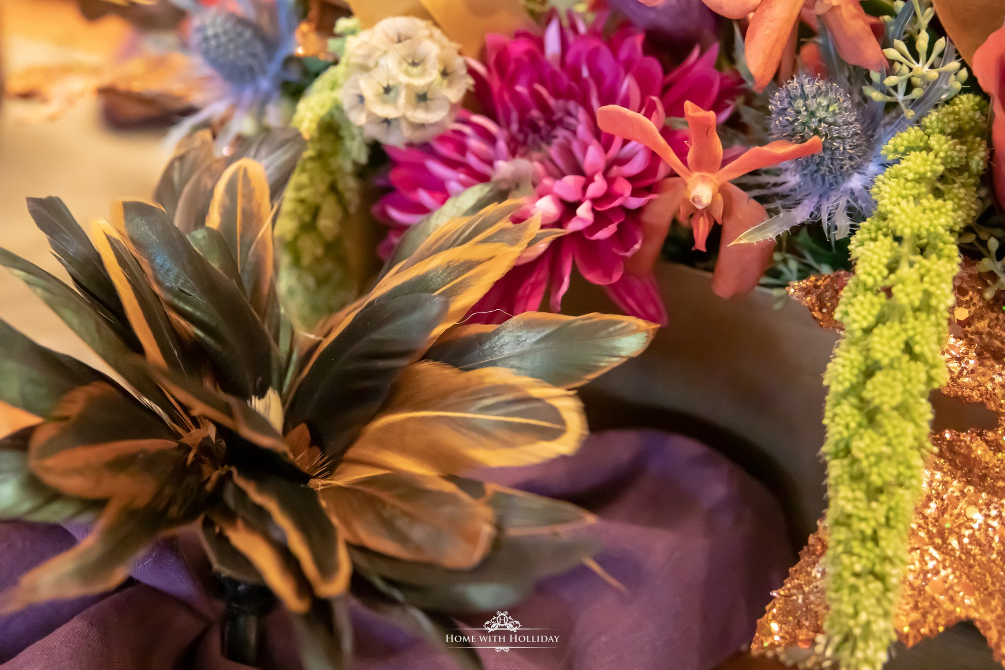 Place Settings for a Jewel-toned Thanksgiving Table Setting - Home with Holliday