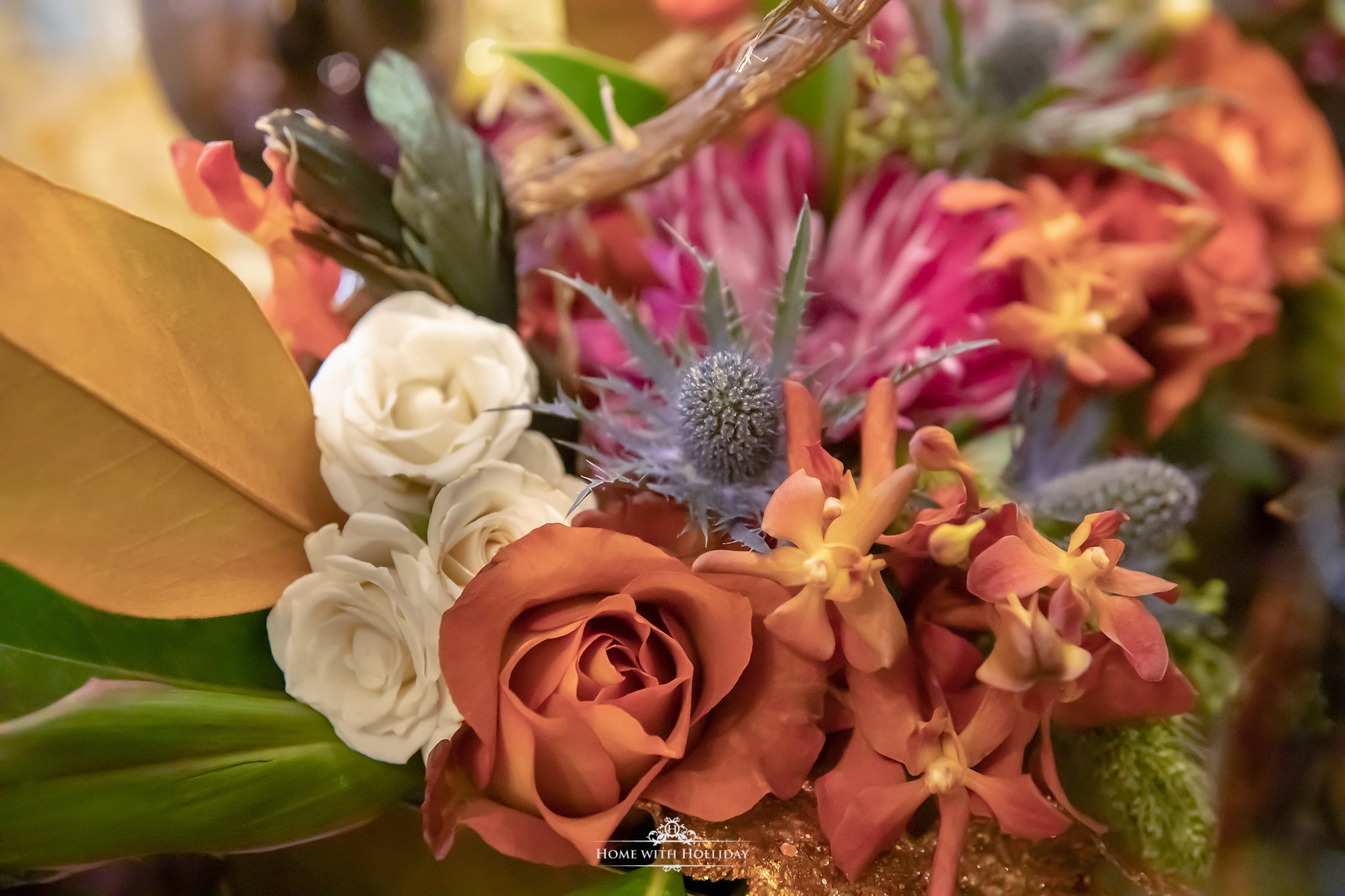 Florals for a Jewel-toned Thanksgiving Table Setting - Home with Holliday