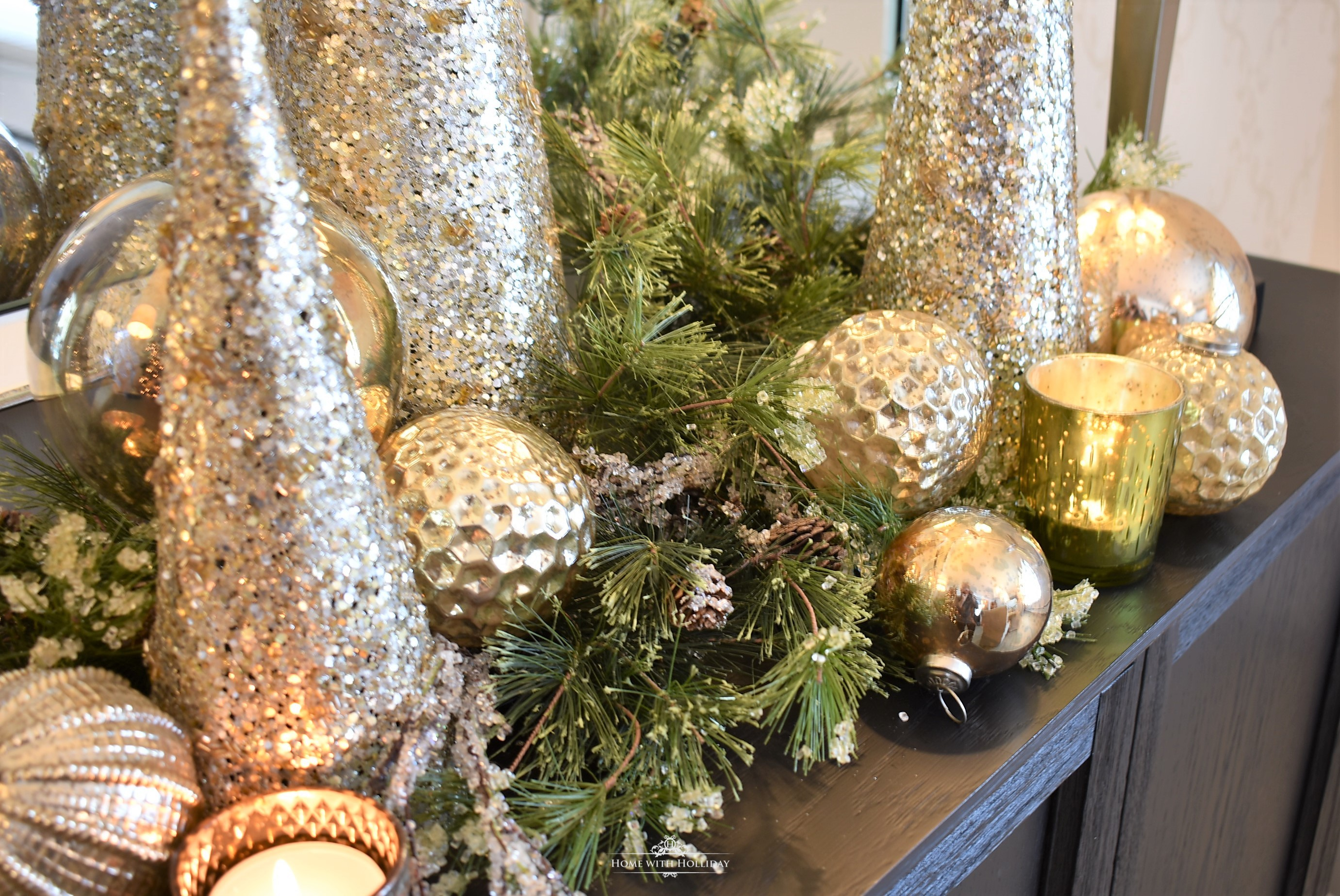 Easy Silver and Gold Glam Christmas Centerpiece - Home with Holliday