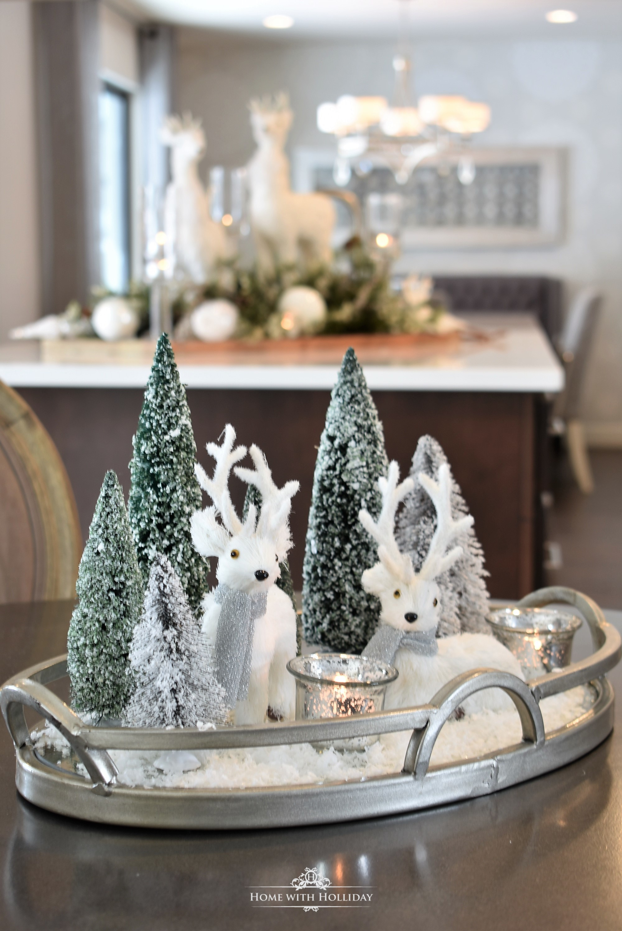 My Christmast Home Tour - Tiny Winter White Christmas Centerpiece - Home with Holliday