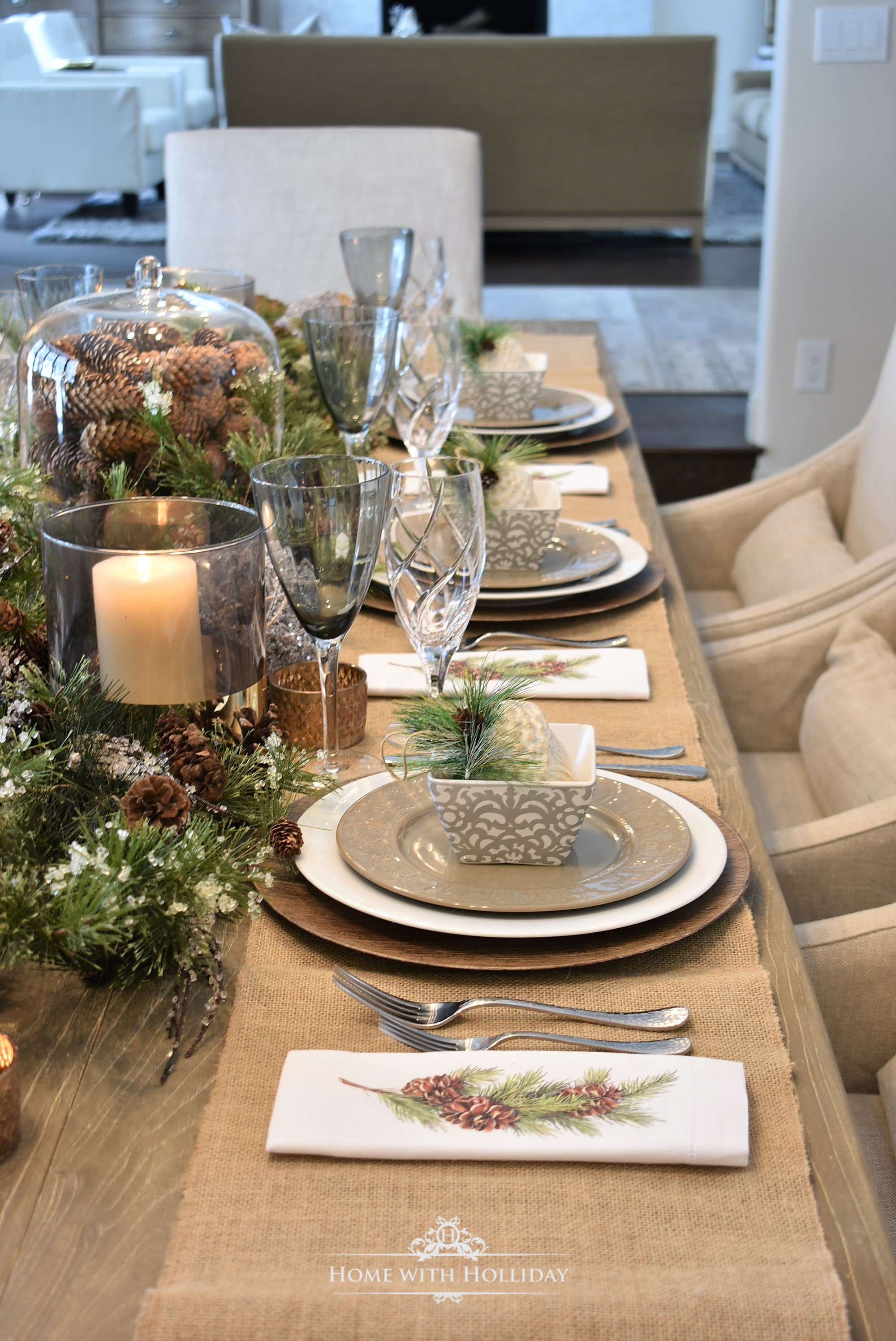 My Christmas Home Tour - Easy Woodland and Pine Cone Christmas Table Setting - Home with Holliday