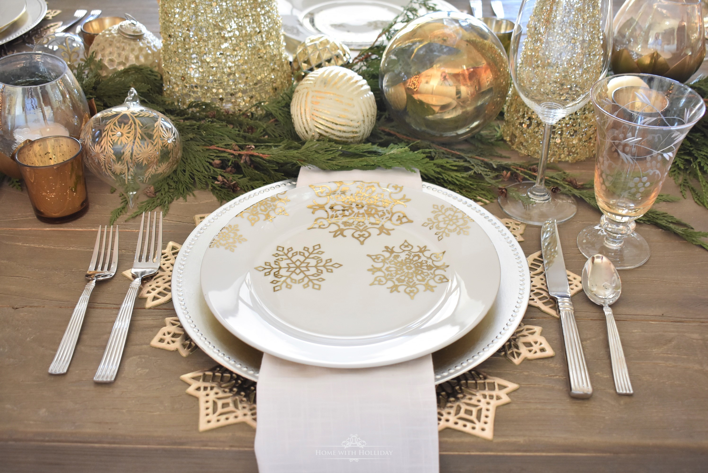 Plates for my Gold and Silver Snowflake Christmas Table Setting - Home with Holliday