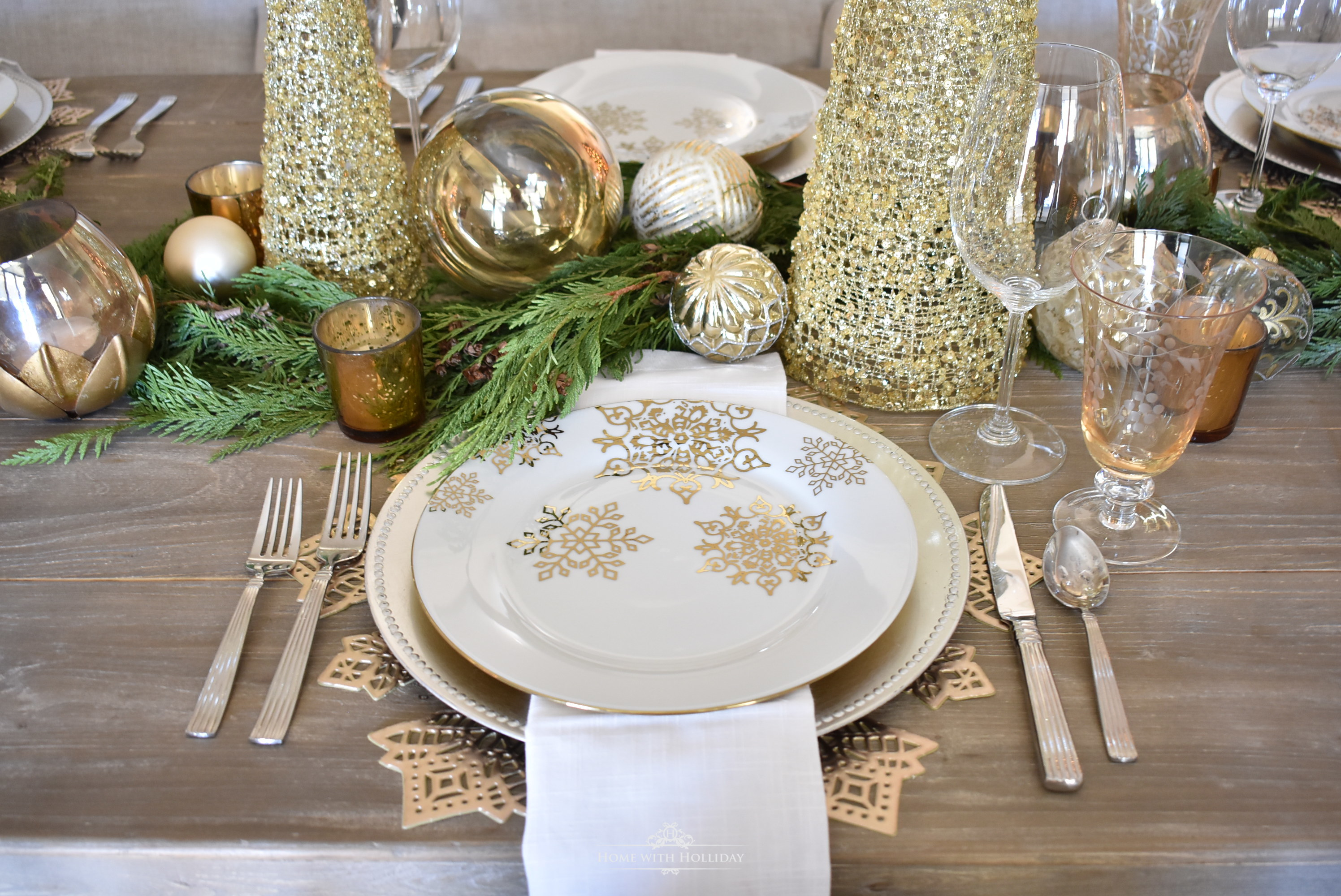 Place Settings for a Gold and Silver Snowflake Christmas Table Setting - Home with Holliday