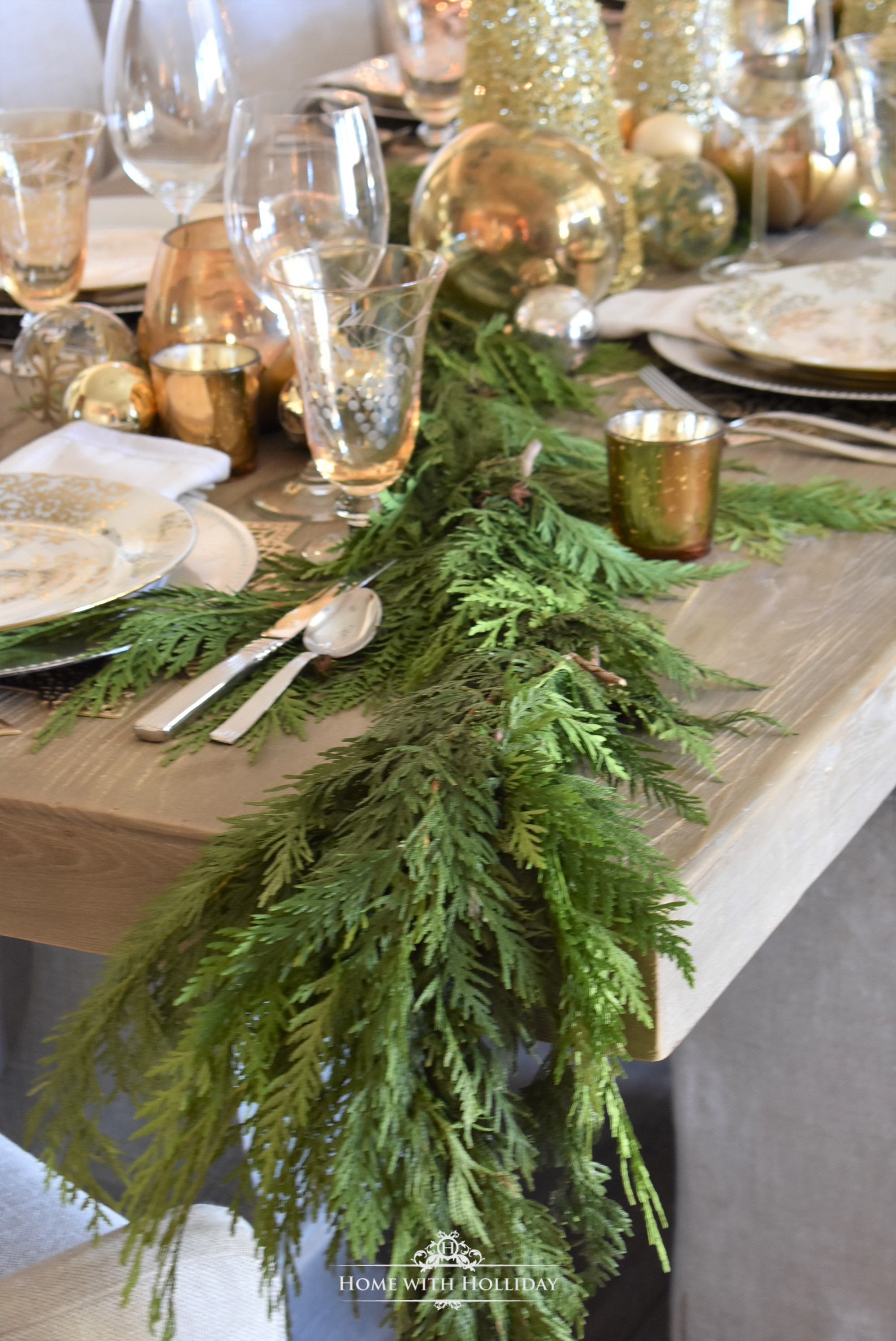 Greenery for a Gold and Silver Snowflake Christmas Table Setting - Home with Holliday
