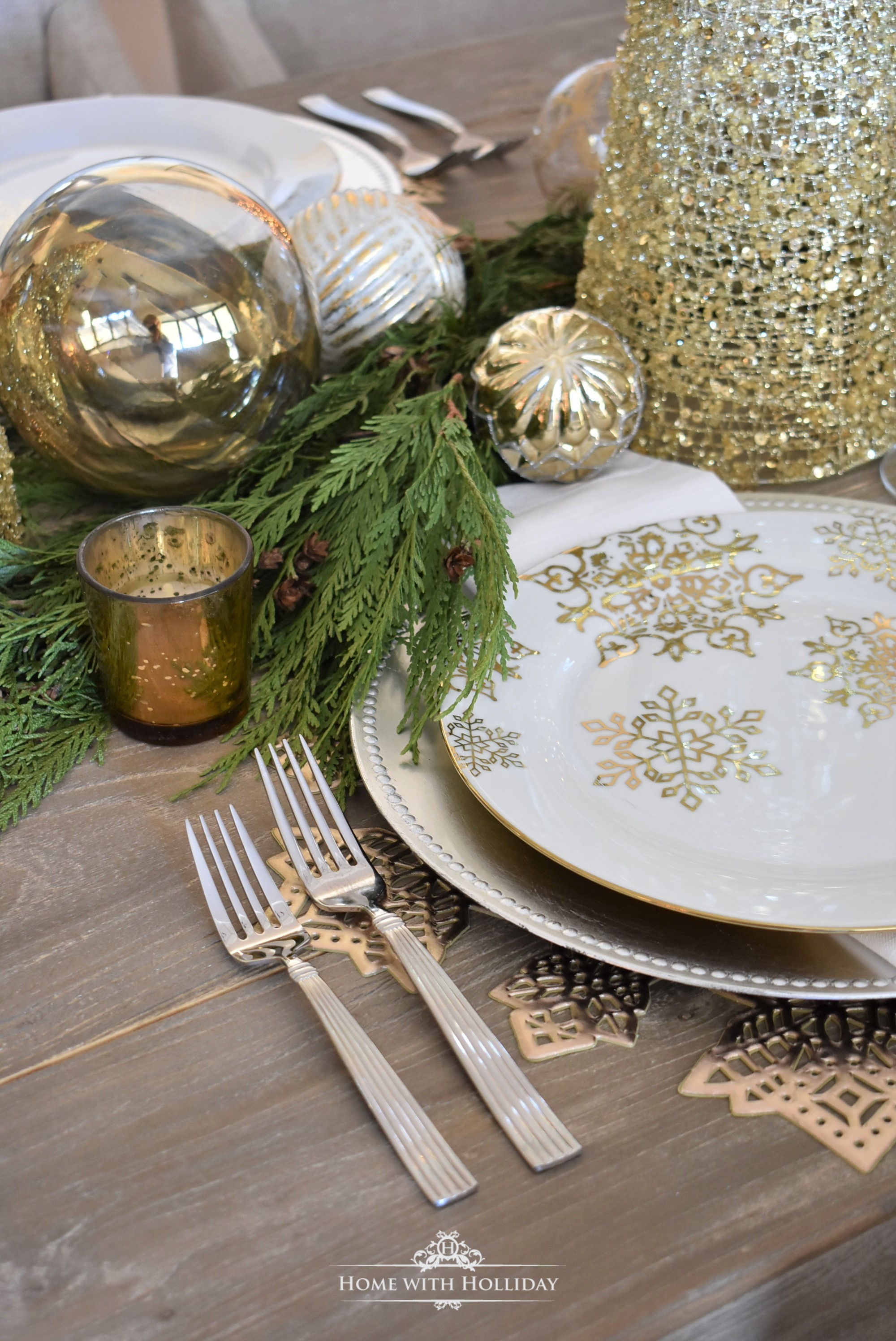 Our Gold and Silver Snowflake Table Setting - Home with Holliday