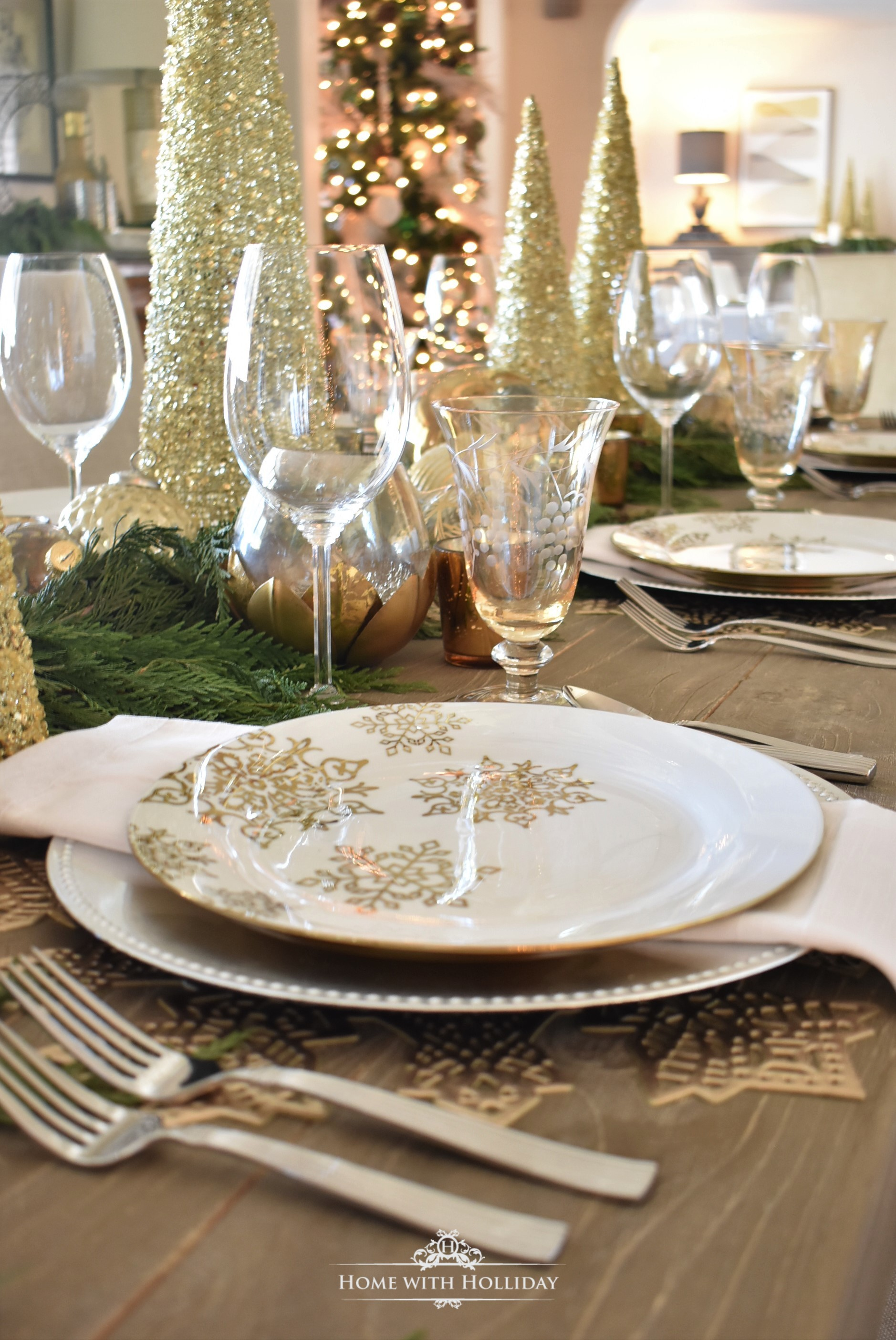 Placesetting for a Gold and Silver Snowflake Christmas Table Setting - Home with Holliday