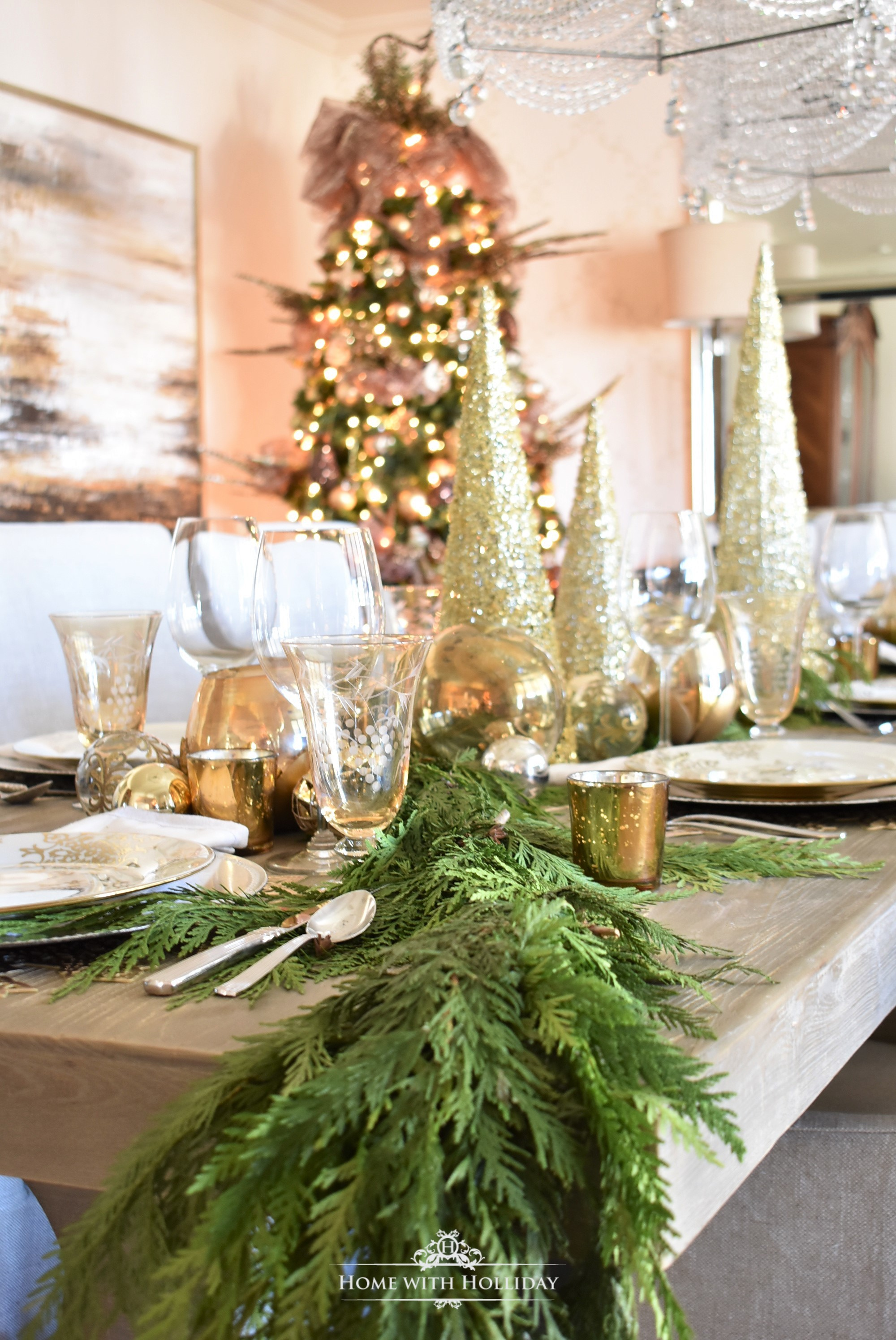 Greenery for my Gold and Silver Snowflake Christmas Table Setting - Home with Holliday