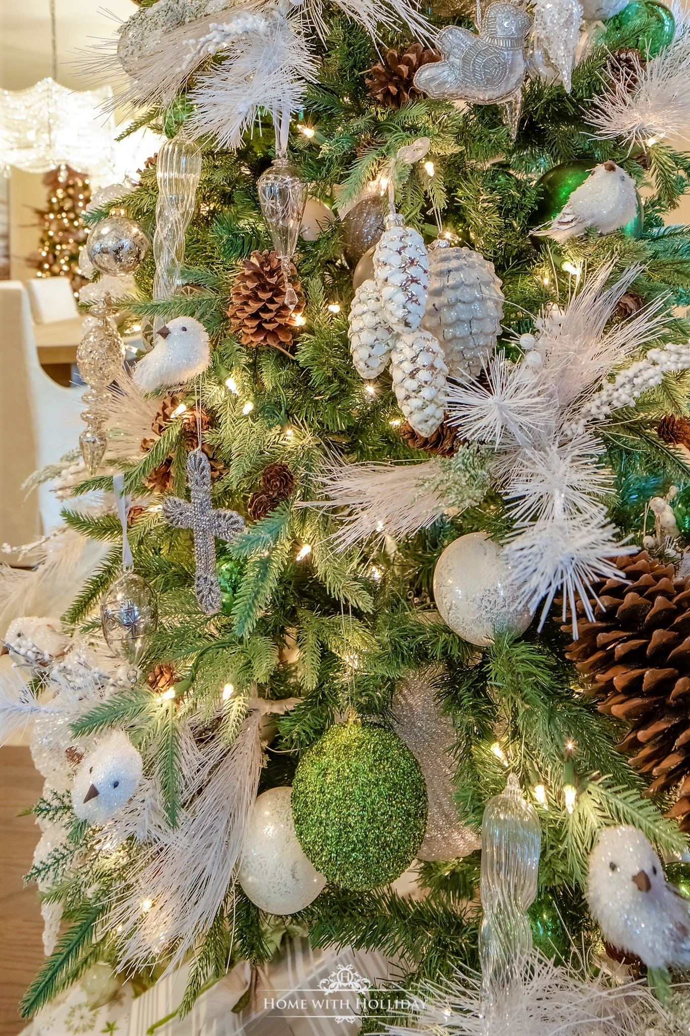 Beautiful Green and White Winter Christmas Tree - Home with Holliday
