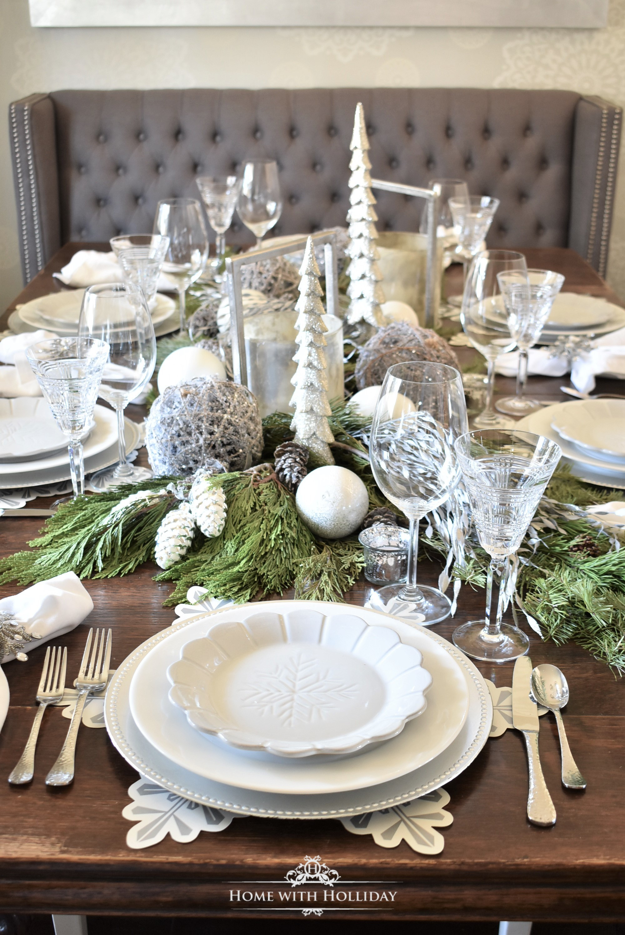My Christmas Home Tour - Winter White Snowflake Table Setting - Home with Holliday