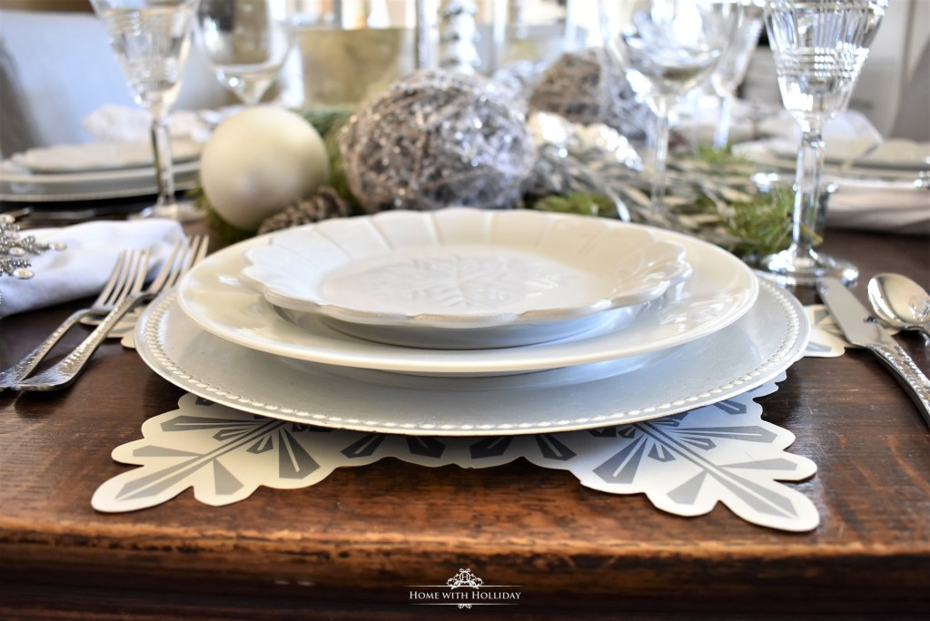 Placesettings Glassware for my Winter White Snowflake Christmas Table Setting - Home with Holliday