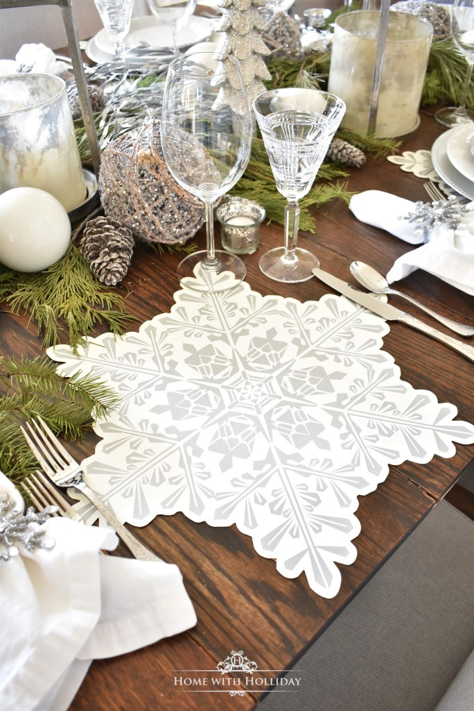 Place Mats for my Winter White Snowflake Christmas Table Setting - Home with Holliday