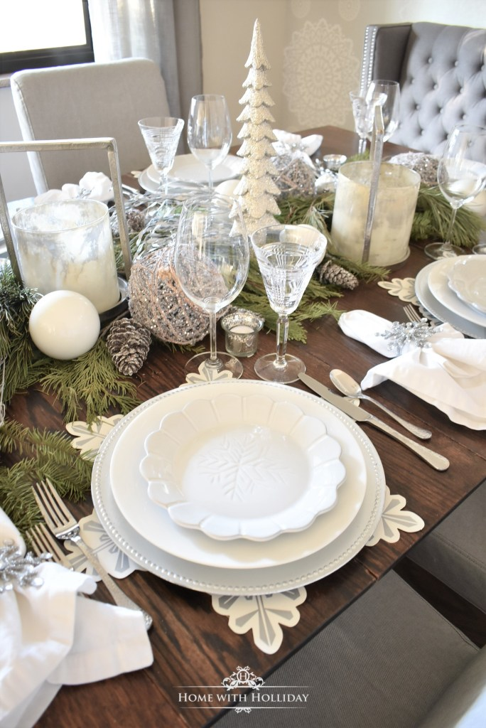 Beautiful Winter White Snowflake Christmas Table Setting - Home with Holliday