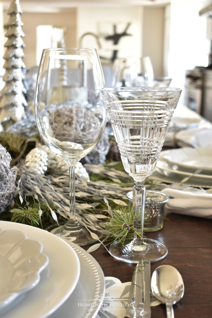 Glassware for my Winter White Snowflake Christmas Table Setting - Home with Holliday