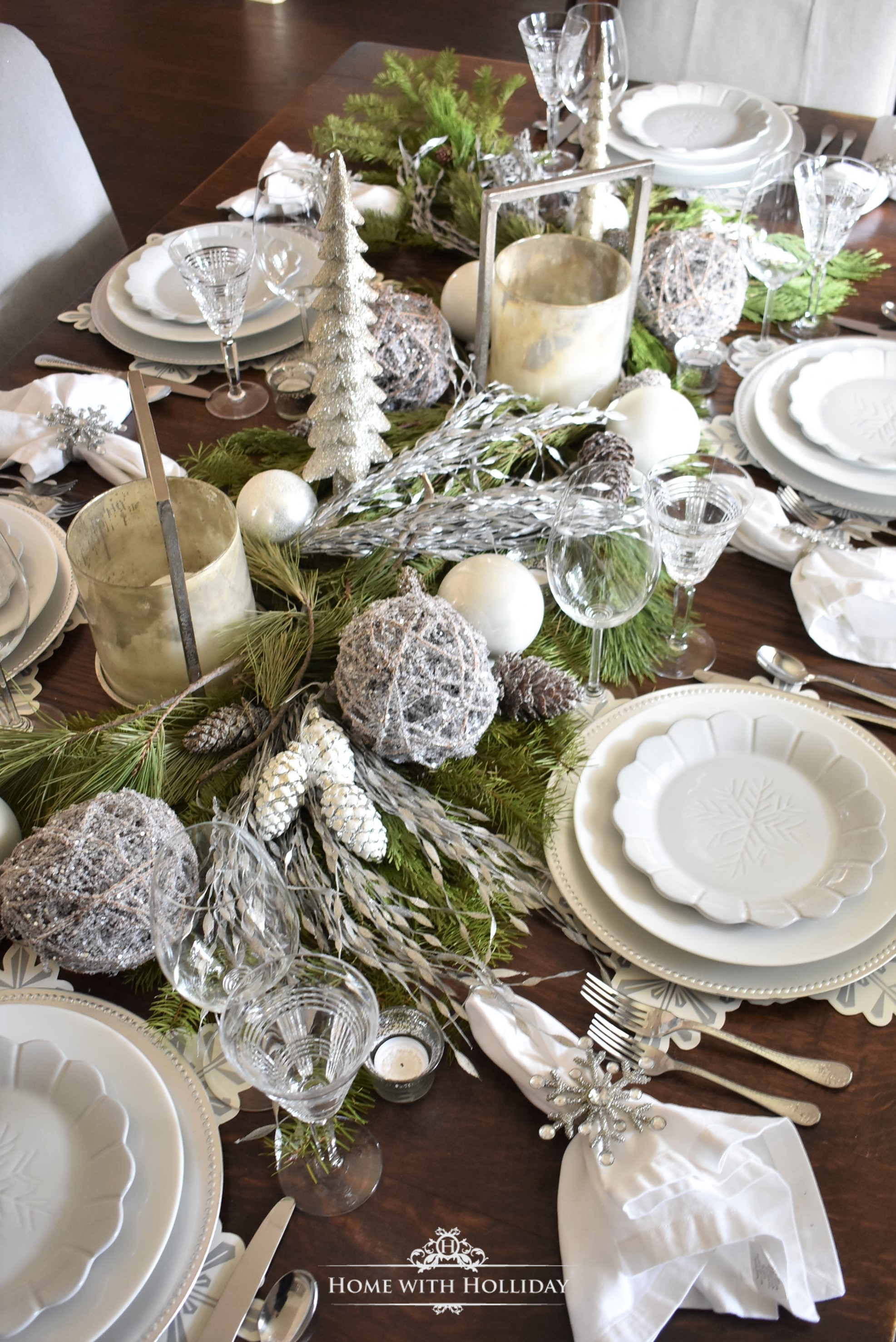 My Christmas Home Tour- Centerpiece for my Winter White Snowflake Christmas Centerpiece - Home with Holliday