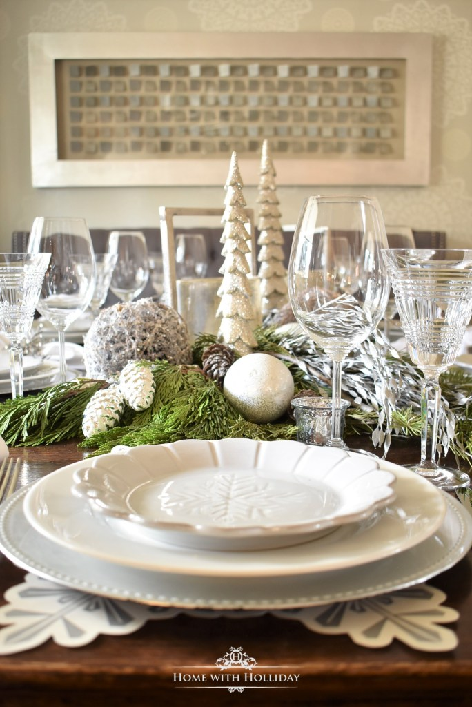 My Christmas Home Tour -  Winter White Snowflake Christmas Table Setting - Home with Holliday