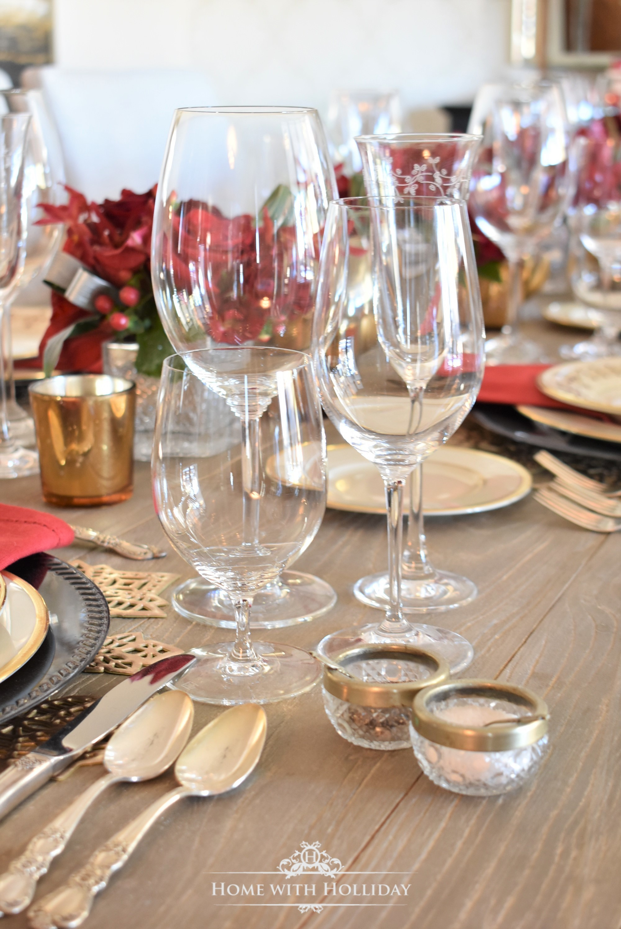 Stemware for a Wine Tasting Dinner Party for New Year's Eve or Valentine's Day - Home with Holliday
