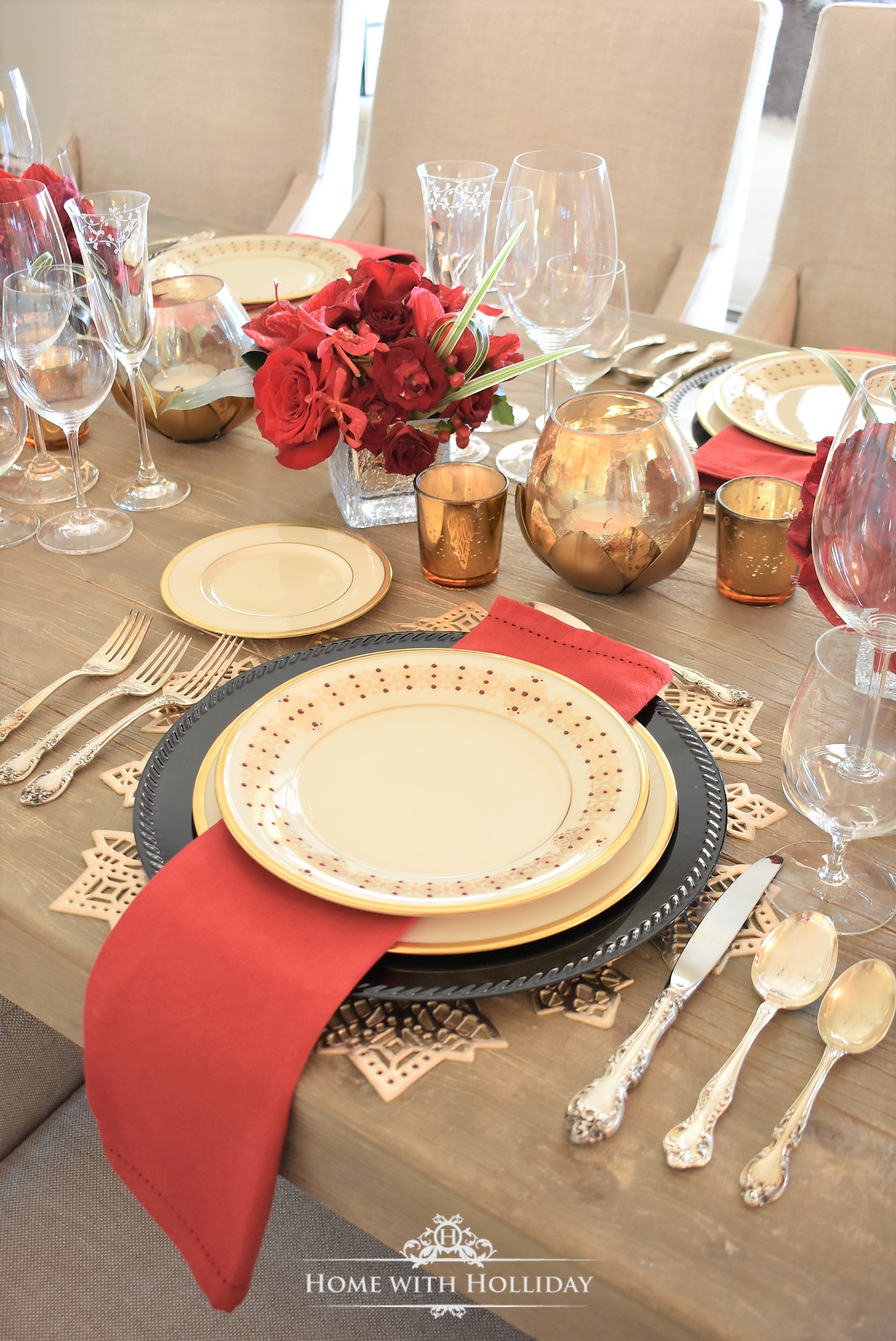 Place Setting for a Wine Tasting Dinner Party for New Year's Eve or Valentine's Day - Home with Holliday