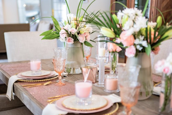Spring Blush Pink and Gold Table Setting - Home with Holliday