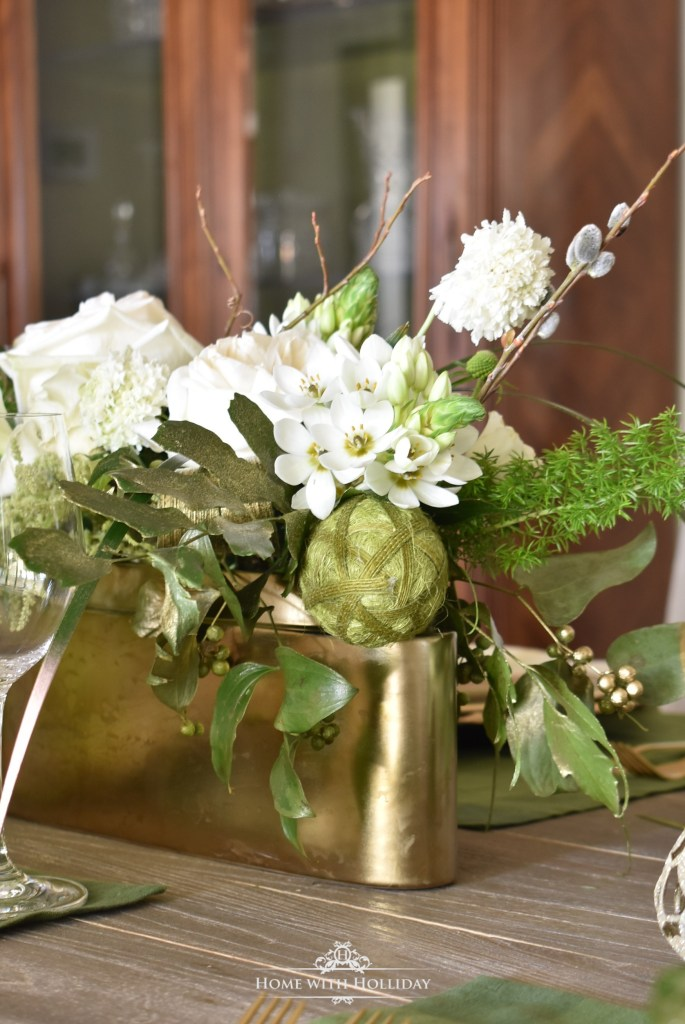 My Green and Gold Easter Table Setting - Home with Holliday
