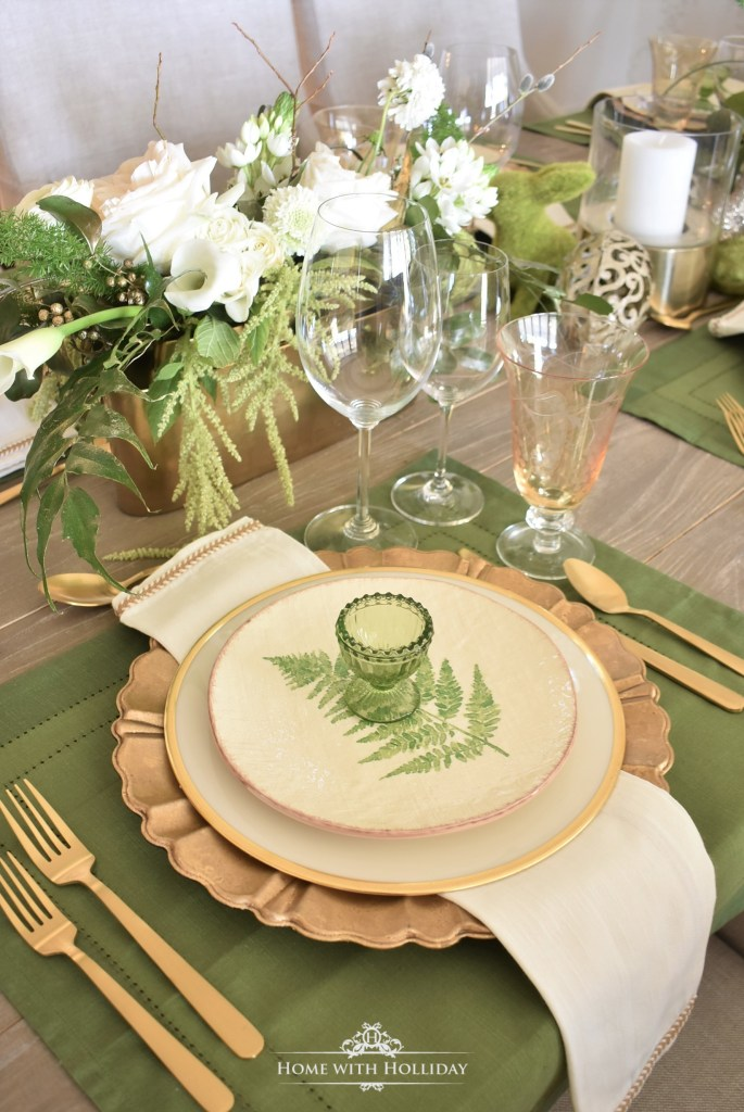 Green and Gold Easter Table Setting - Home with Holliday